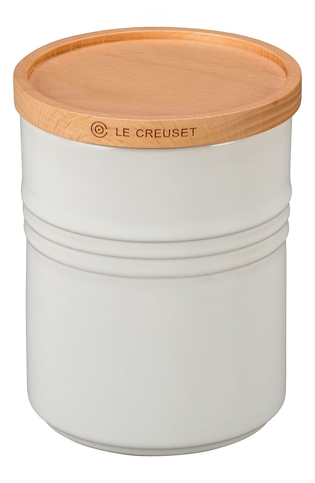 Glazed Stoneware 2 1/2 Quart Storage Canister with Wooden Lid,                         Main,                         color, WHITE