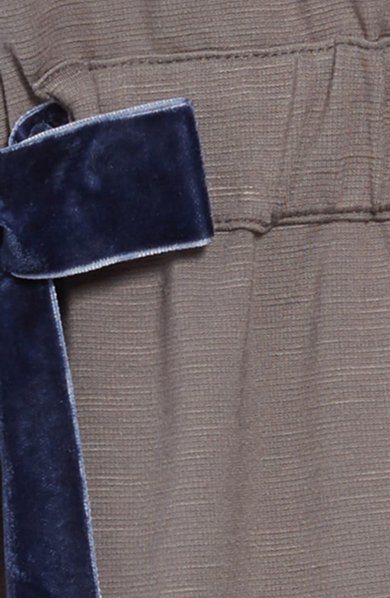 Violet Velvet Bow Dress,                             Alternate thumbnail 3, color,                             OLIVE