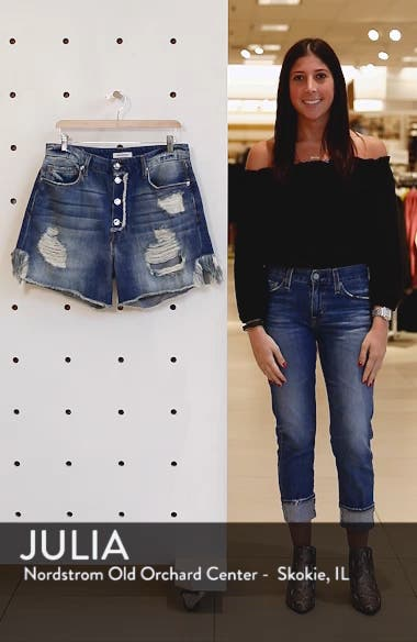 High Waist Denim Boyfriend Shorts, sales video thumbnail
