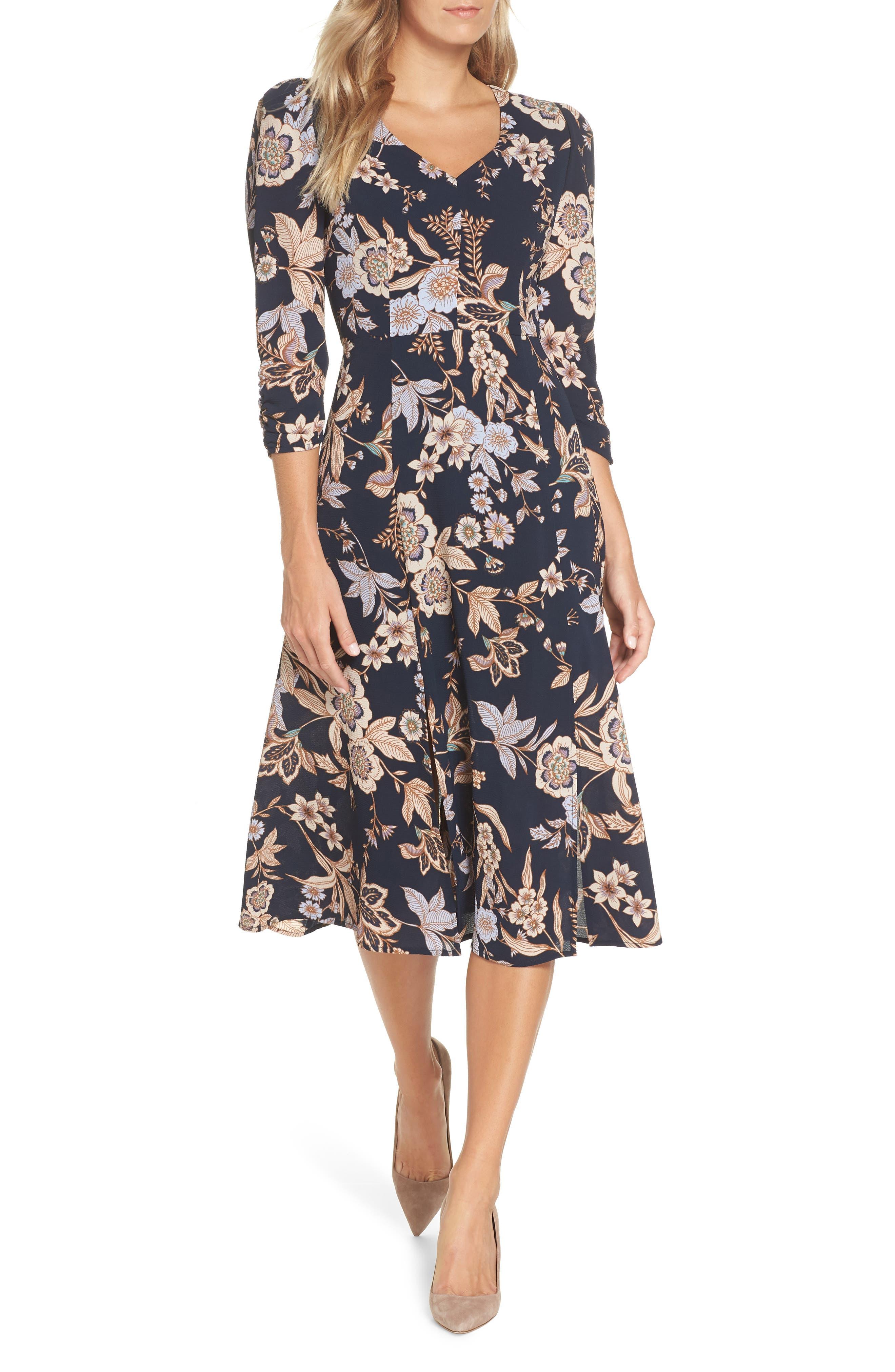 Eliza J Floral Midi Dress, Blue