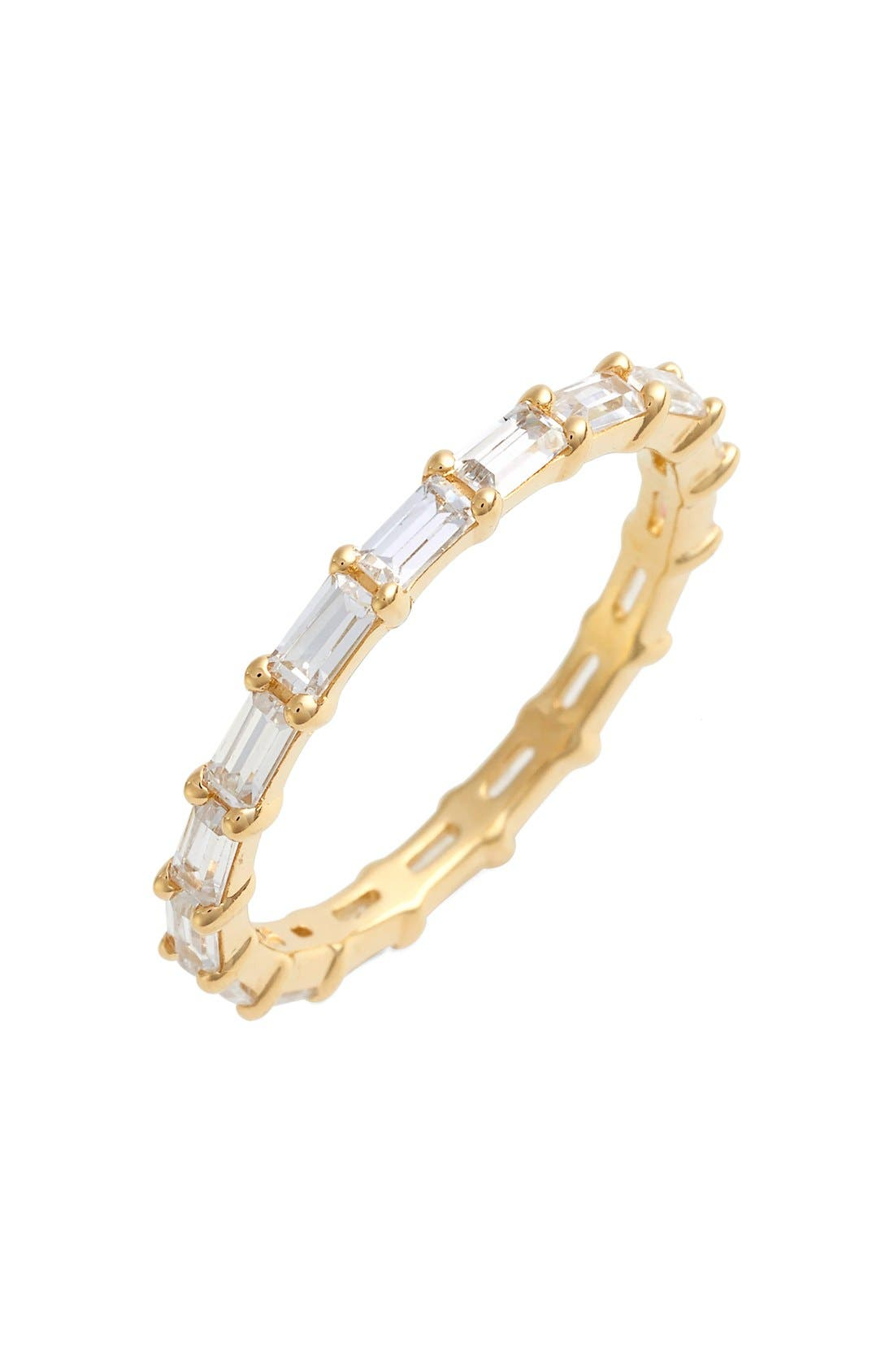 Stackable Cubic Zirconia Baguette Ring,                         Main,                         color, GOLD