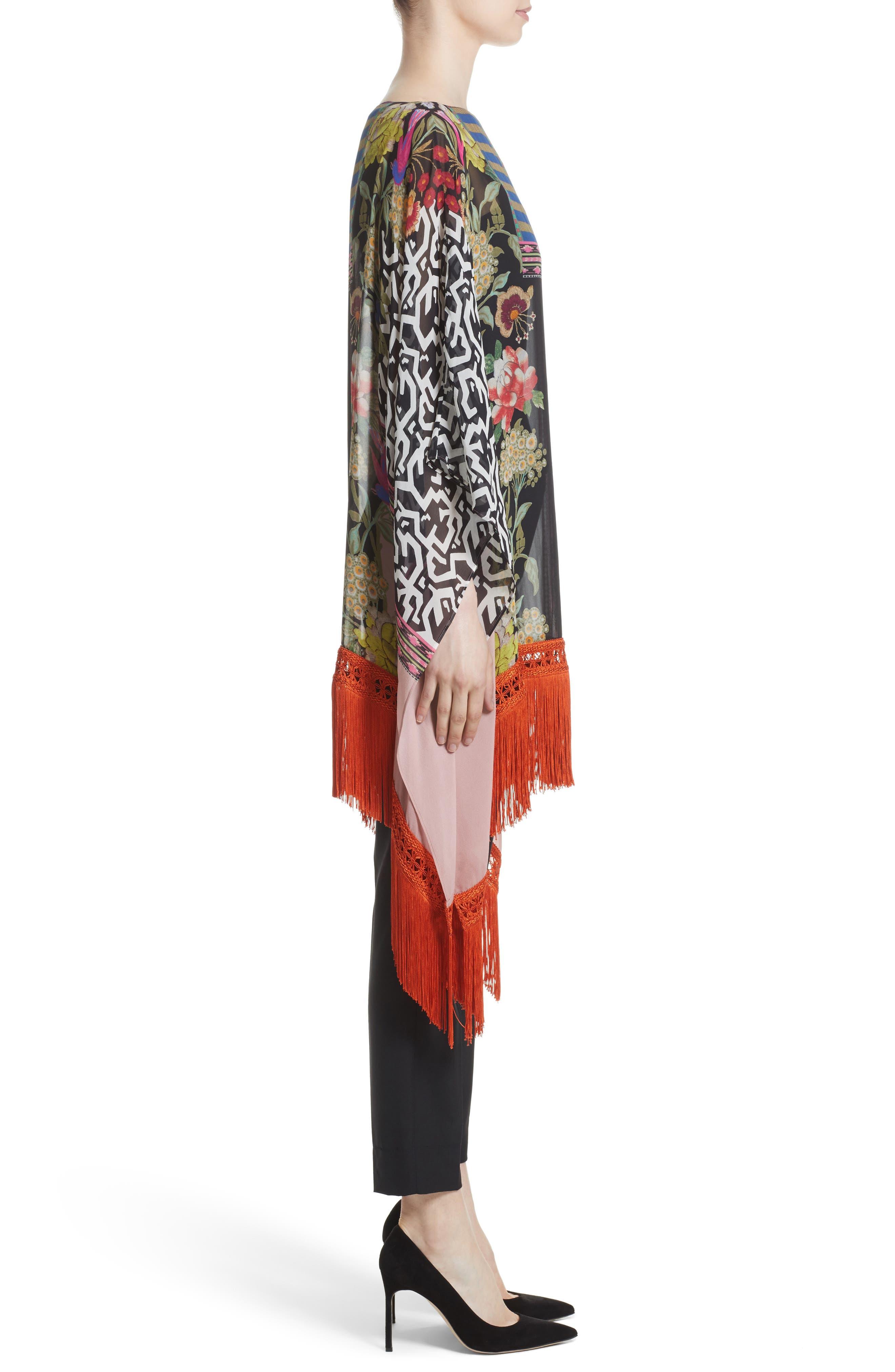 Fringe Trim Floral Print Silk Poncho,                             Alternate thumbnail 3, color,                             650
