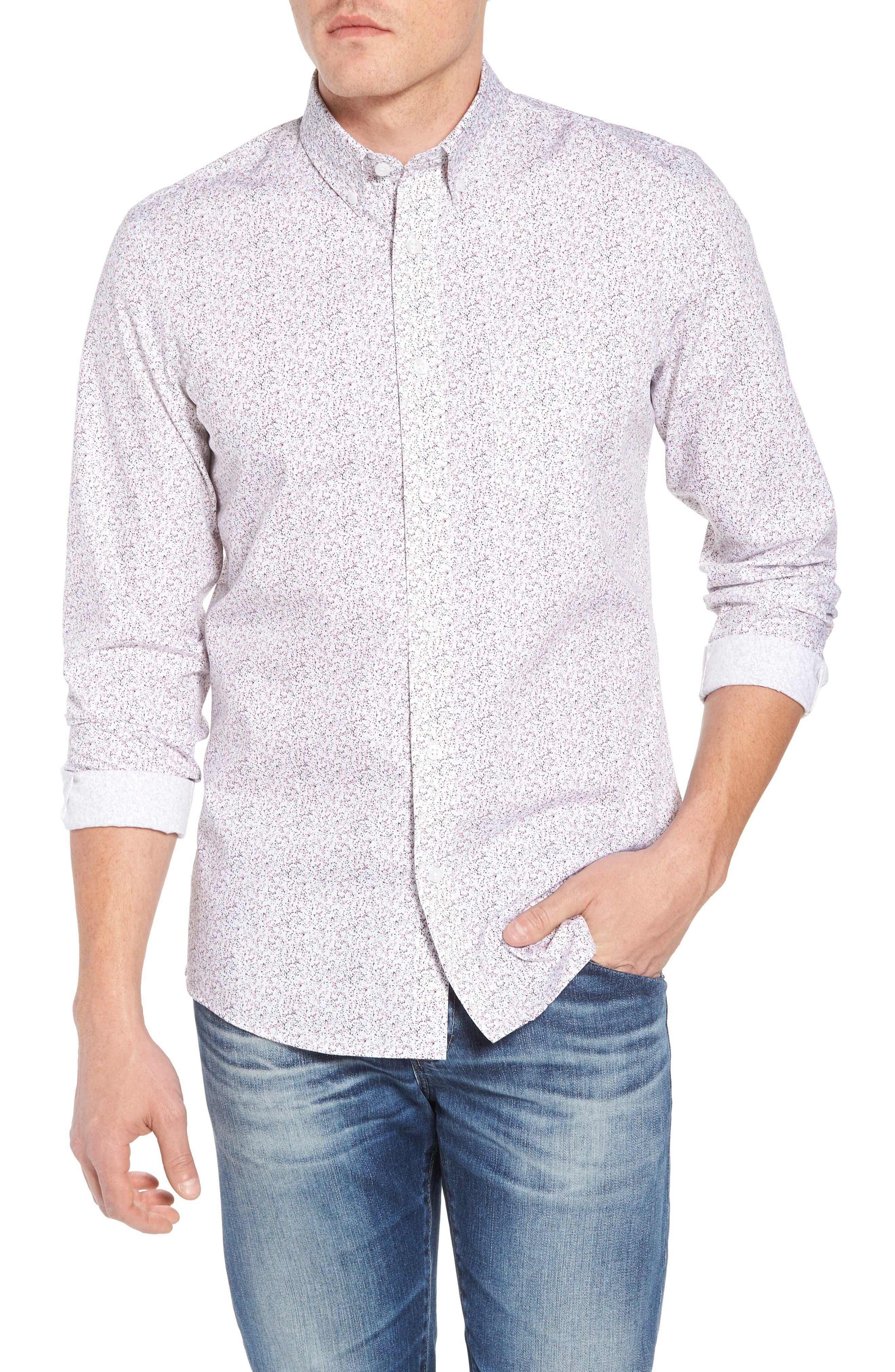 Trim Fit Print Sport Shirt,                         Main,                         color, WHITE NAVY SPRING FLORAL