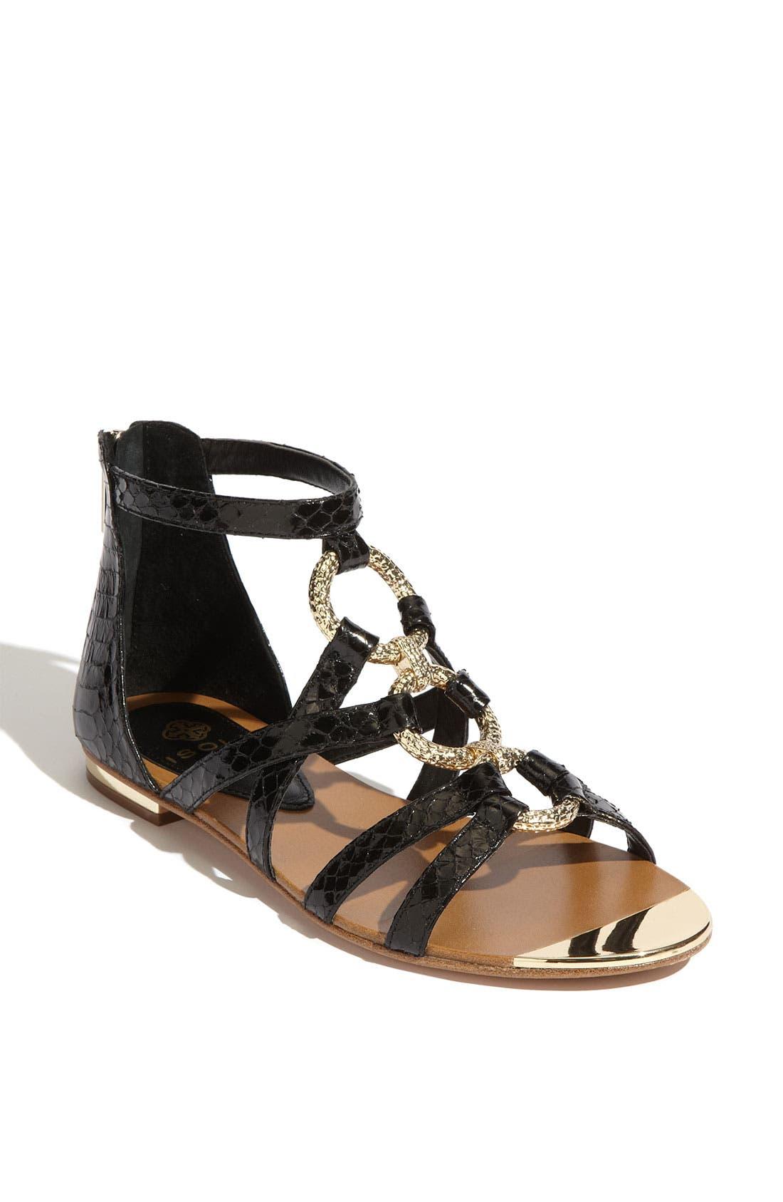 'Adriel' Flat Sandal,                             Main thumbnail 1, color,                             001