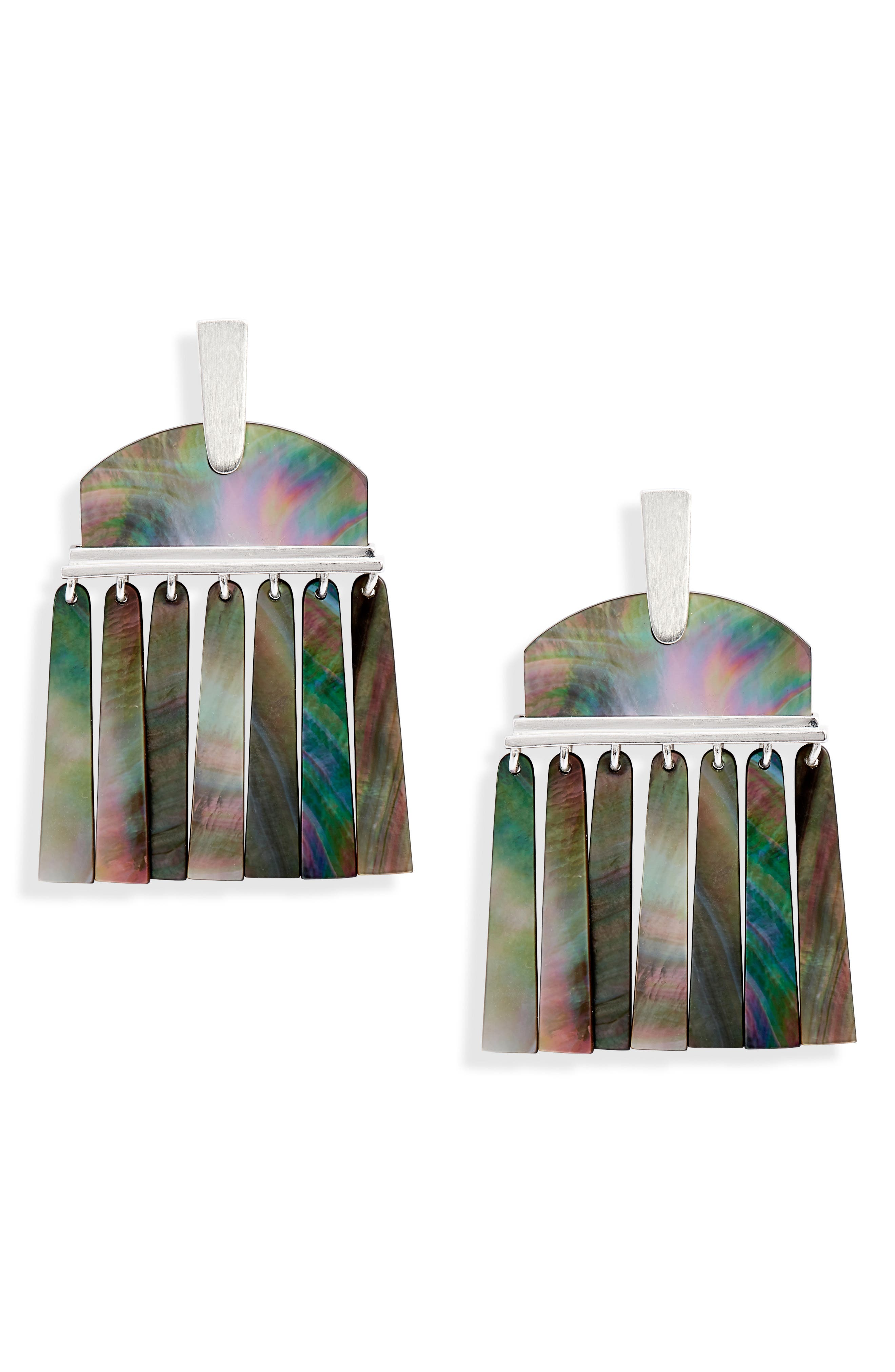Layne Earrings,                             Main thumbnail 1, color,                             BRIGHT SILVER/ BLACK MOP
