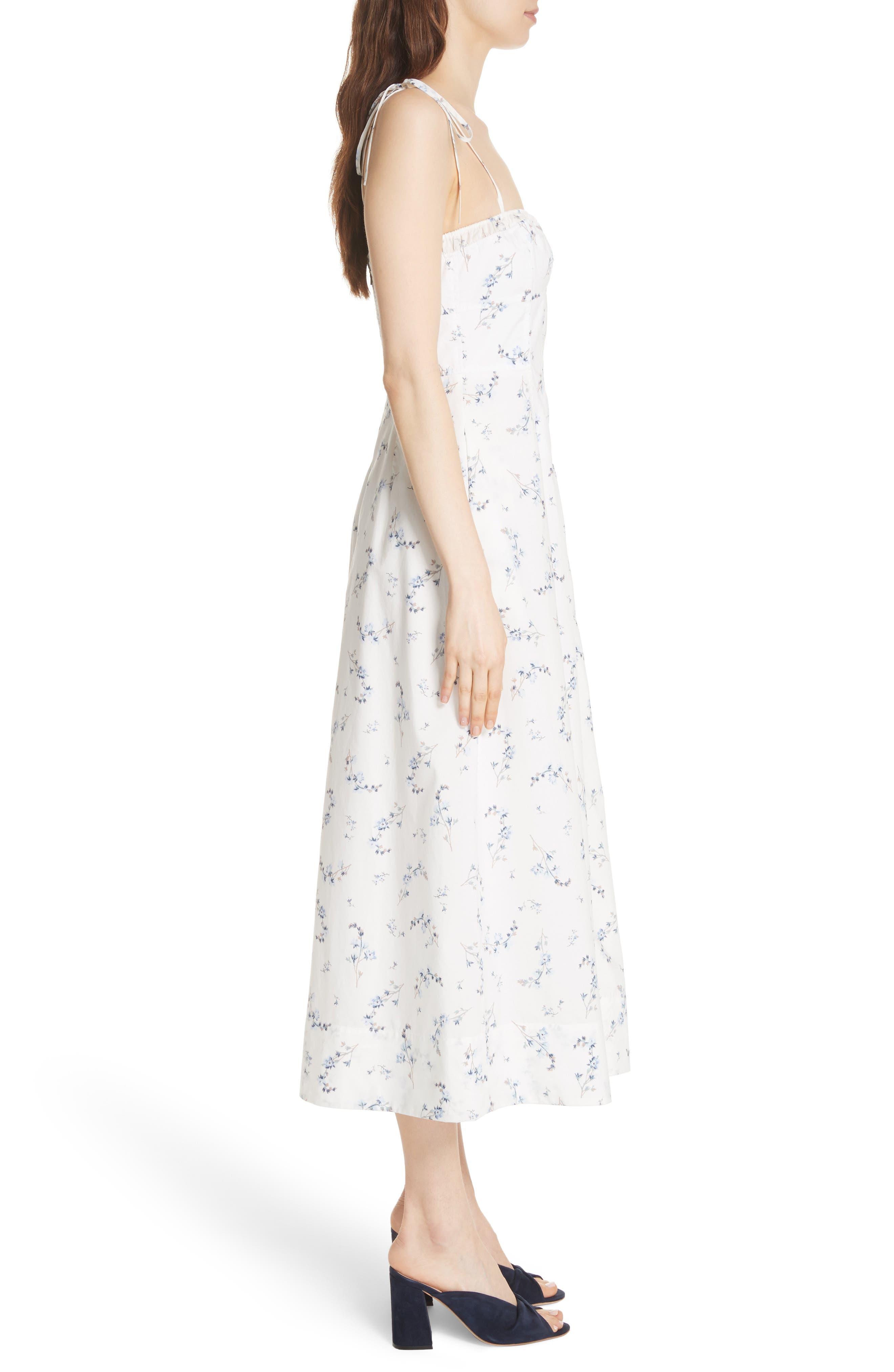 Francine Floral Cotton Poplin Dress,                             Alternate thumbnail 3, color,                             103