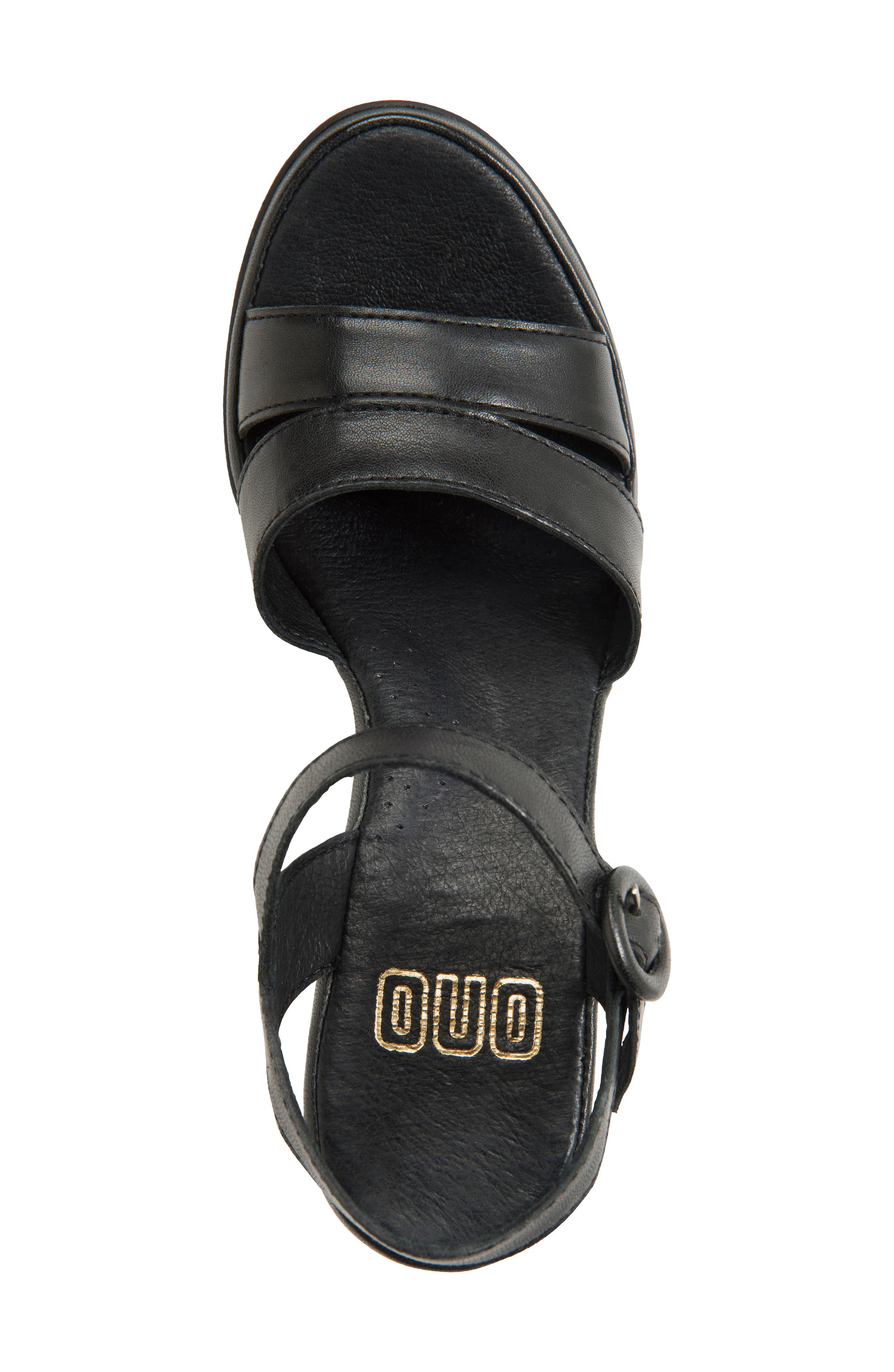 Hydro Wedge Sandal,                             Alternate thumbnail 5, color,                             BLACK LEATHER