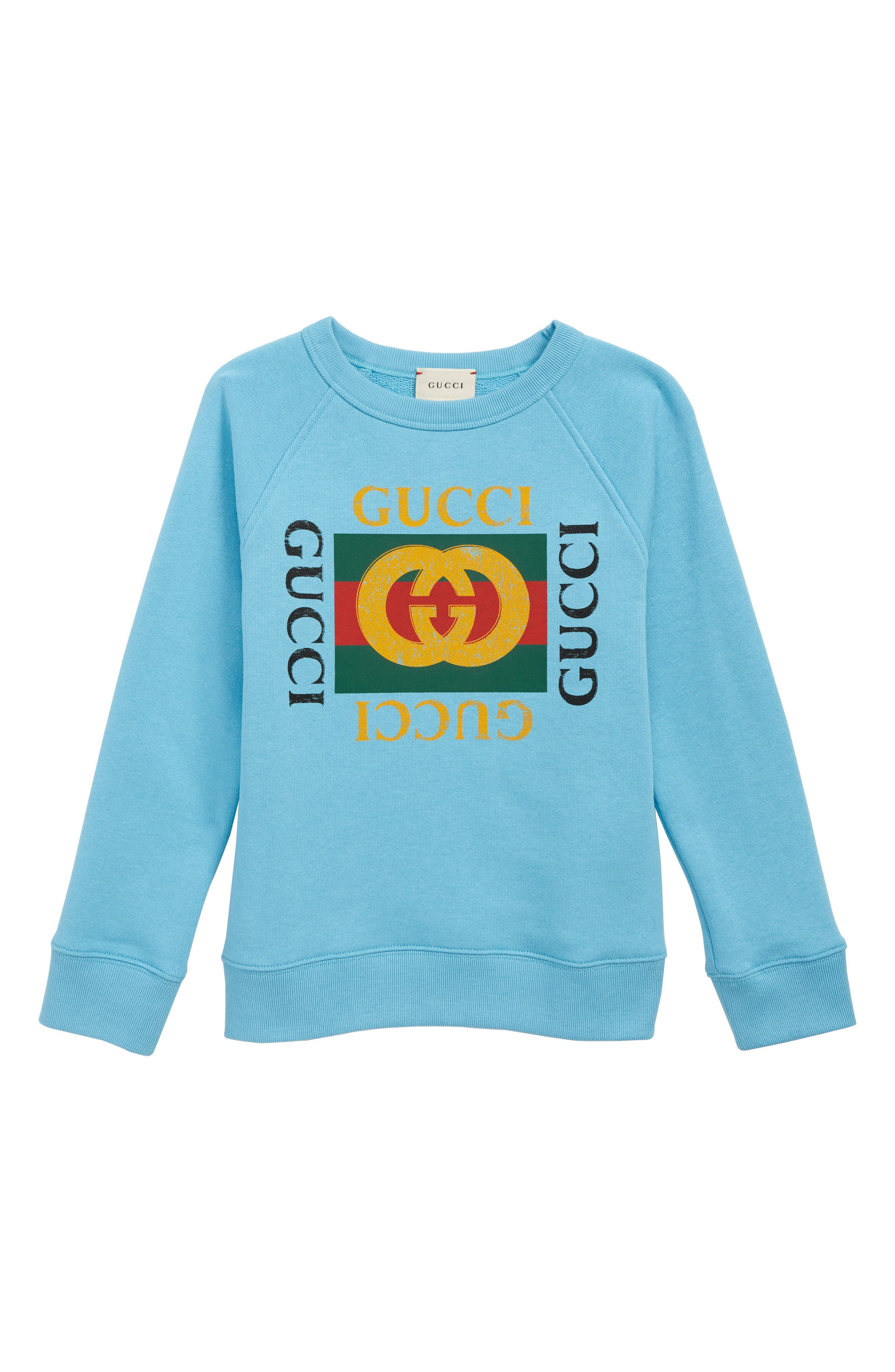 Logo Graphic Sweatshirt,                         Main,                         color, AZURE/ GREEN/ RED