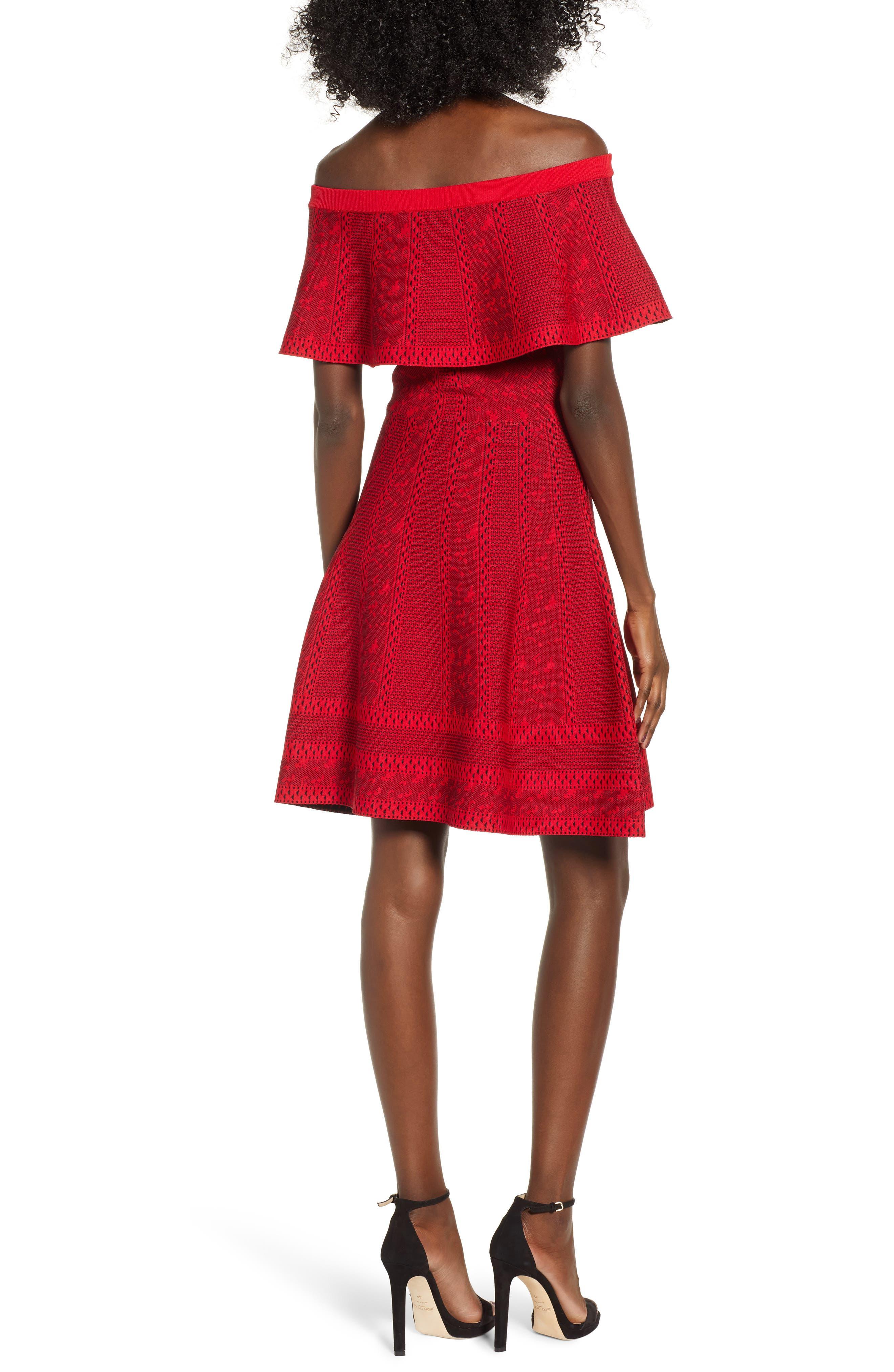 Off the Shoulder Fit & Flare Dress,                             Alternate thumbnail 2, color,                             RED