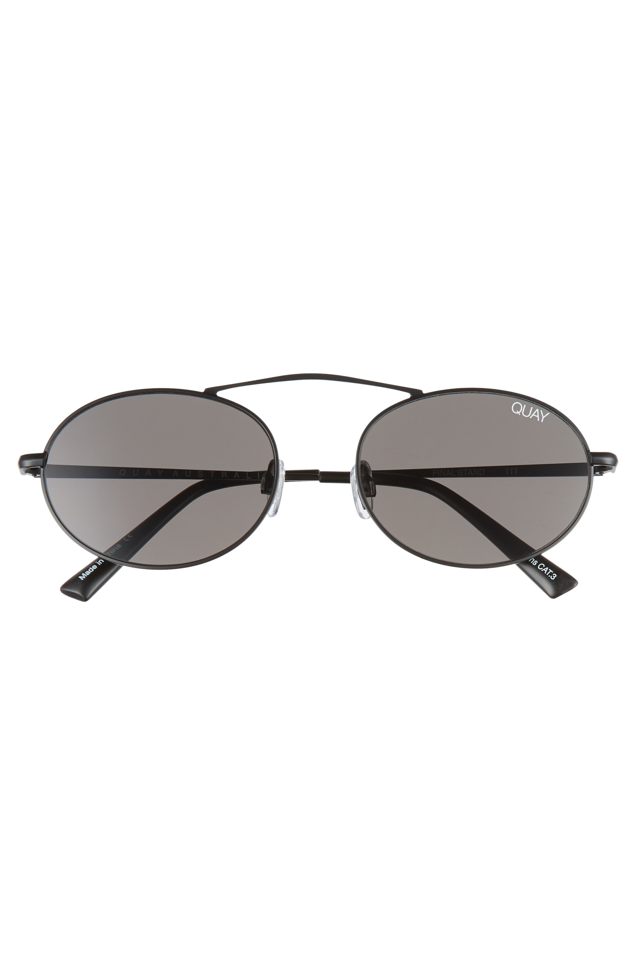 x Finders Keepers Final Stand 53mm Round Sunglasses,                             Alternate thumbnail 3, color,                             BLACK/ SMOKE