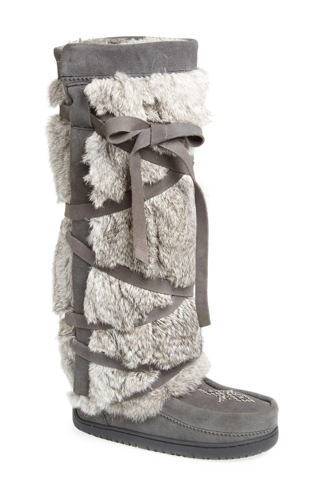 Manitobah Mukluks Genuine Rabbit Fur Tall Wrap Boot, Grey