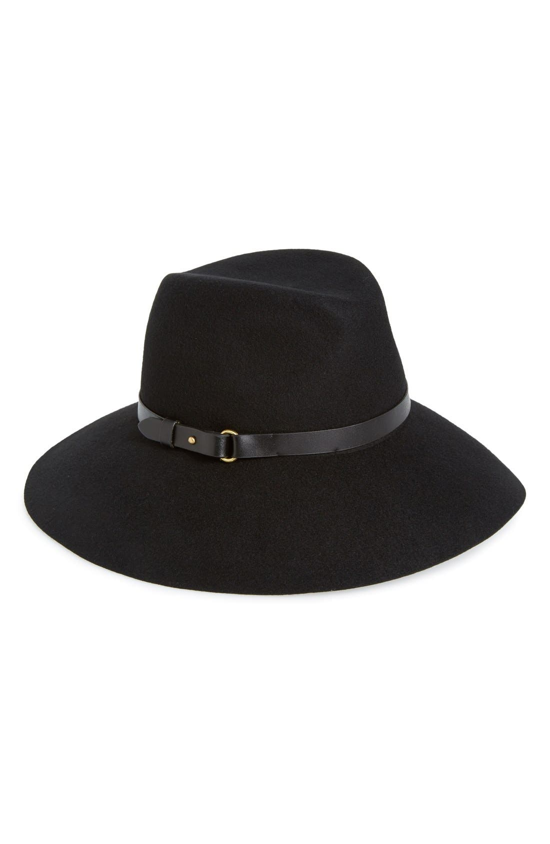 'Fanny' Water Repellent Wool Fedora,                         Main,                         color, 001