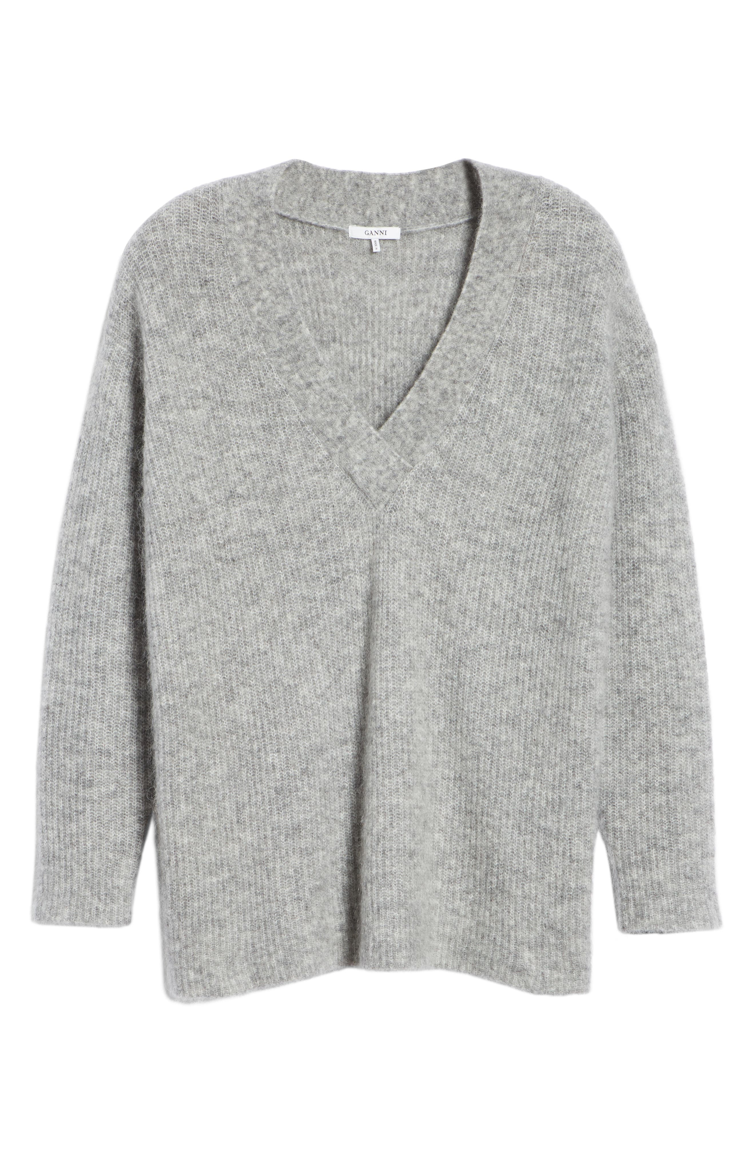 Soft Mohair Blend Knit Sweater,                             Alternate thumbnail 6, color,                             PALOMA MELANGE 921