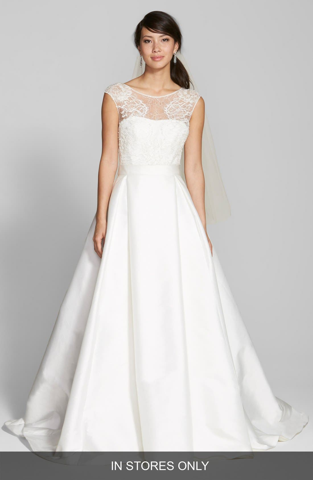 Lace & Swiss Dot Tulle Dress with Mikado Overskirt,                         Main,                         color, IVORY