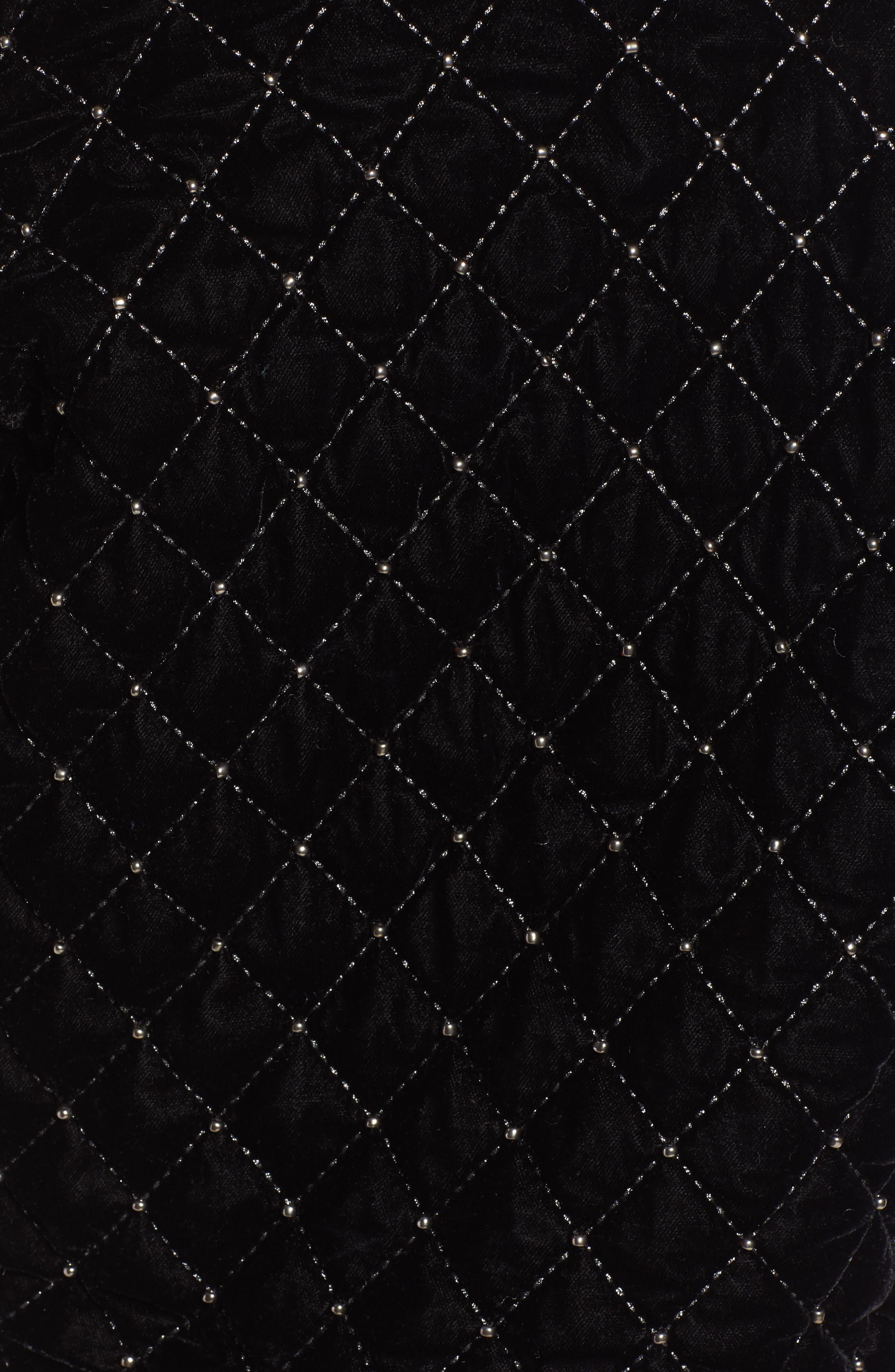 Quilted Velvet Jacket,                             Alternate thumbnail 7, color,                             BLACK