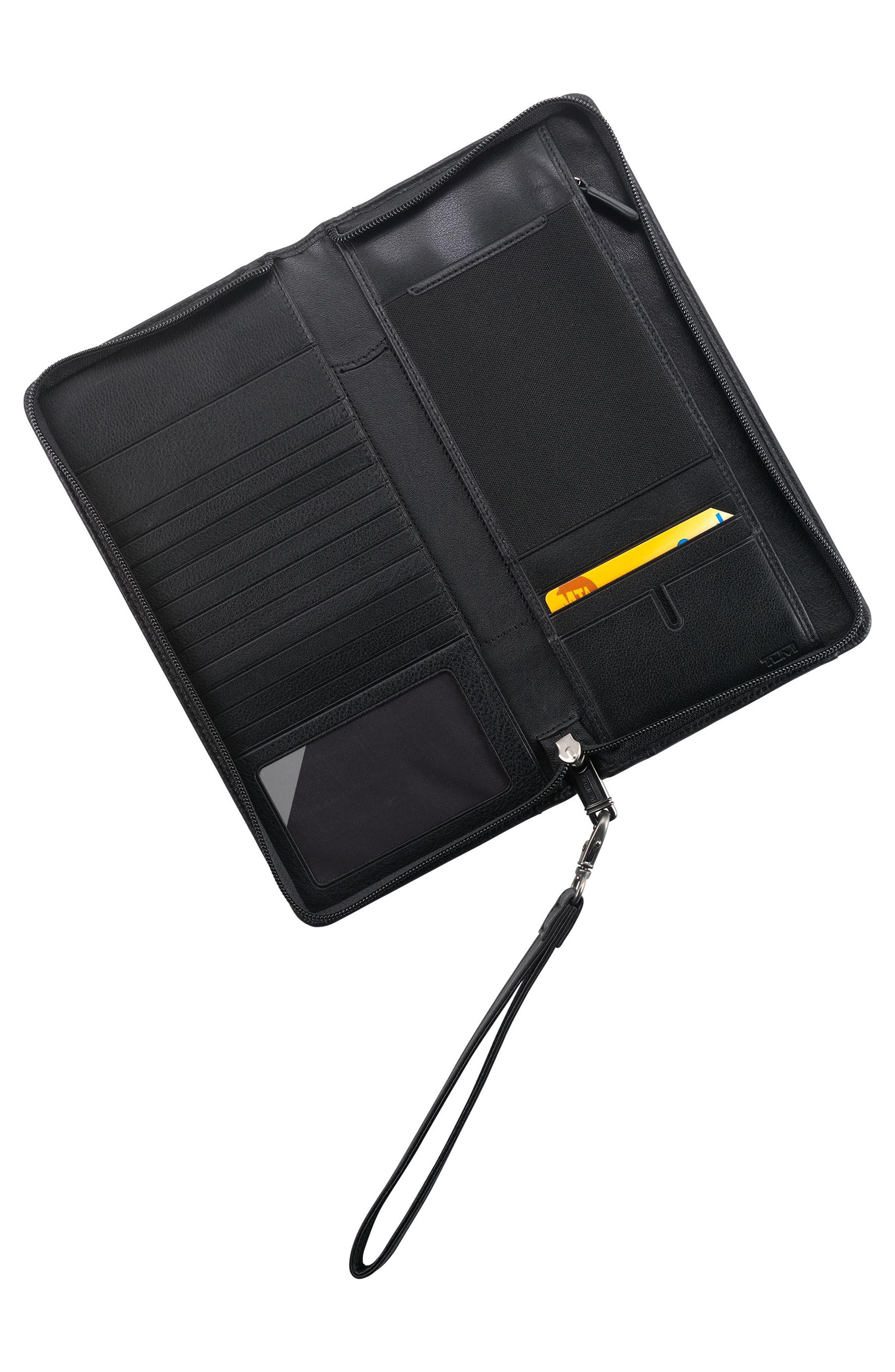 Leather Zip Wallet,                             Alternate thumbnail 3, color,