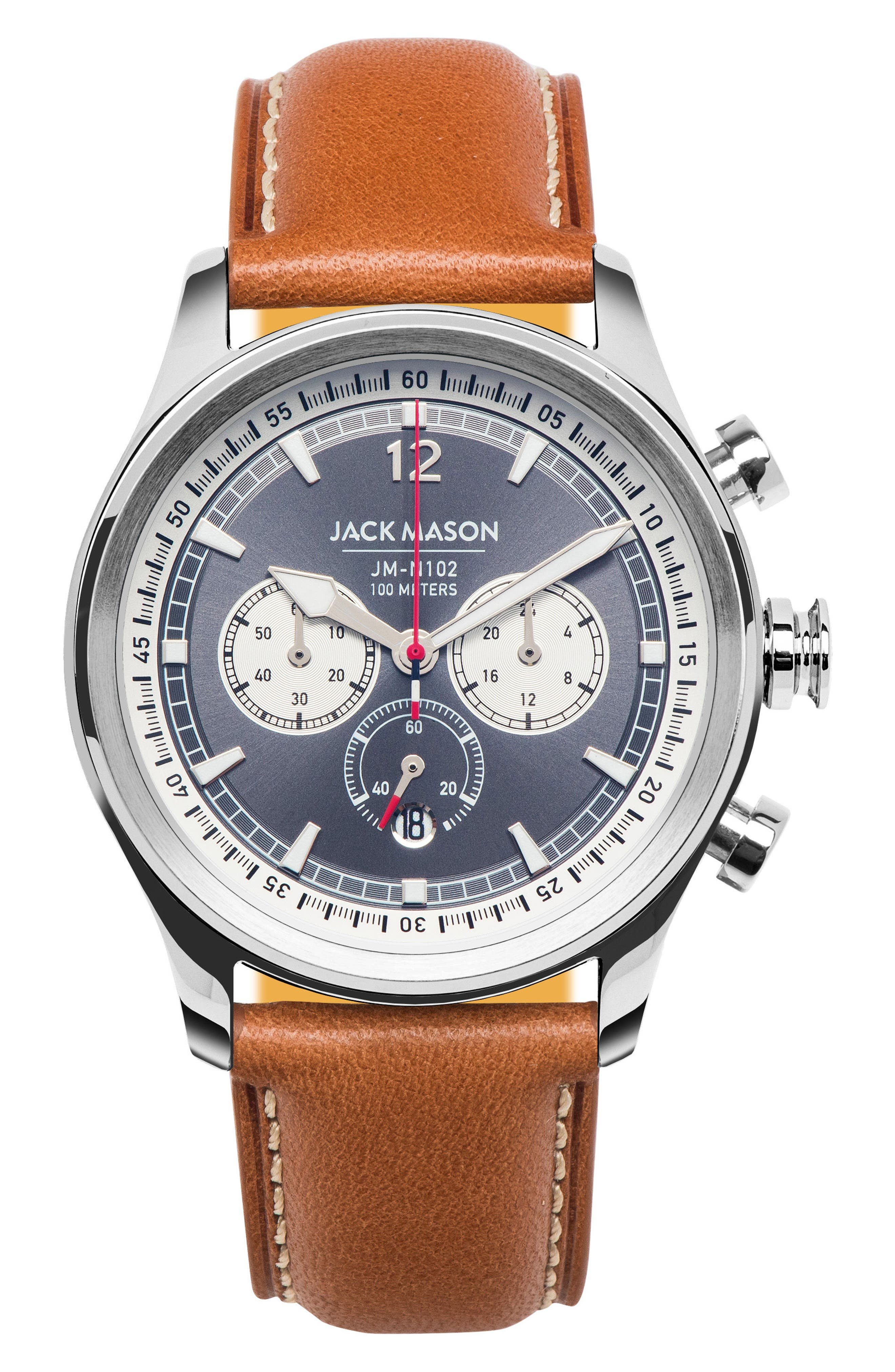 Nautical Chronograph Leather Strap Watch, 42mm,                             Main thumbnail 1, color,                             GREY/ TAN