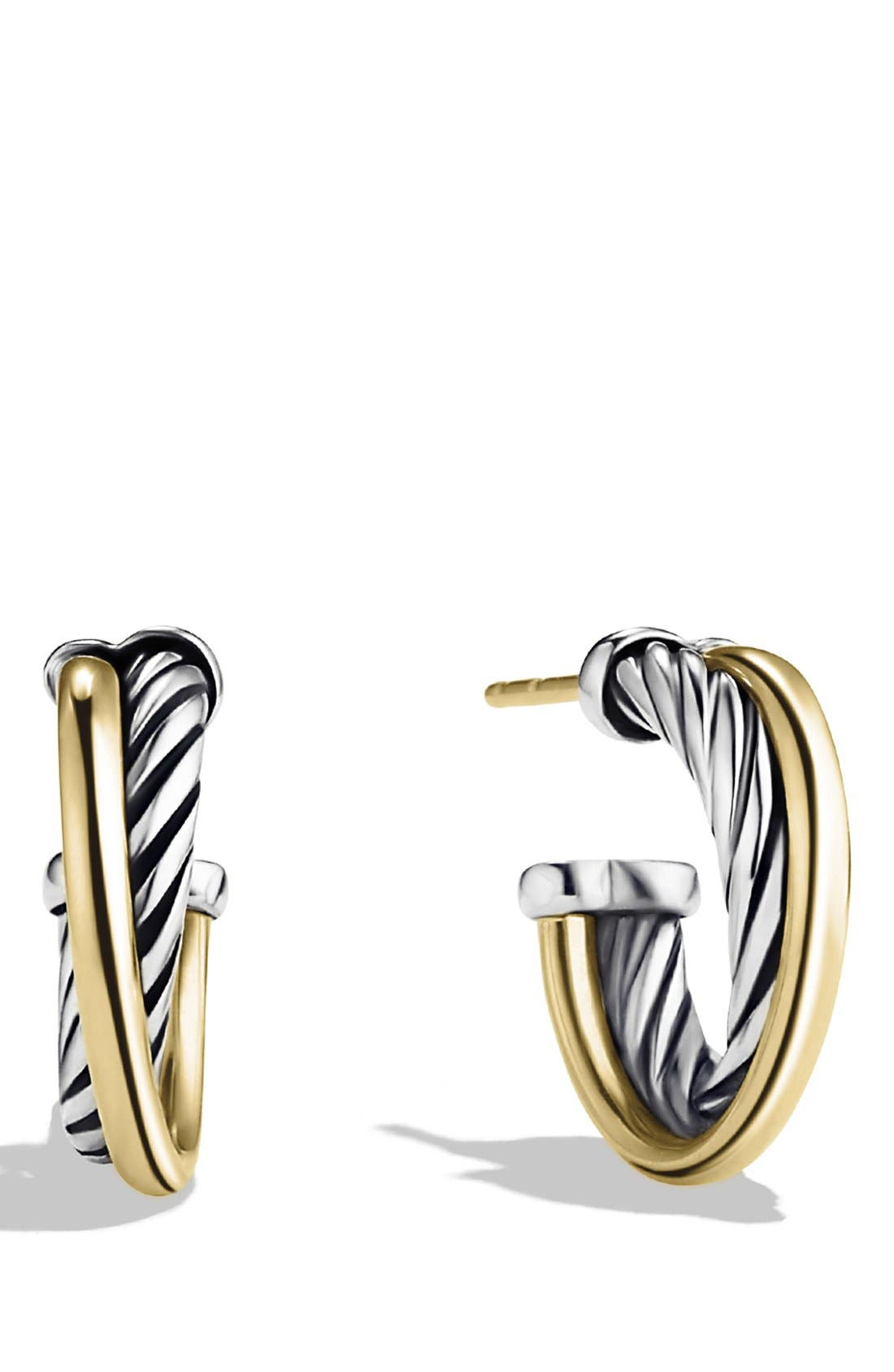 'Crossover' Extra-Small Hoop Earrings with Gold,                             Main thumbnail 1, color,                             TWO TONE