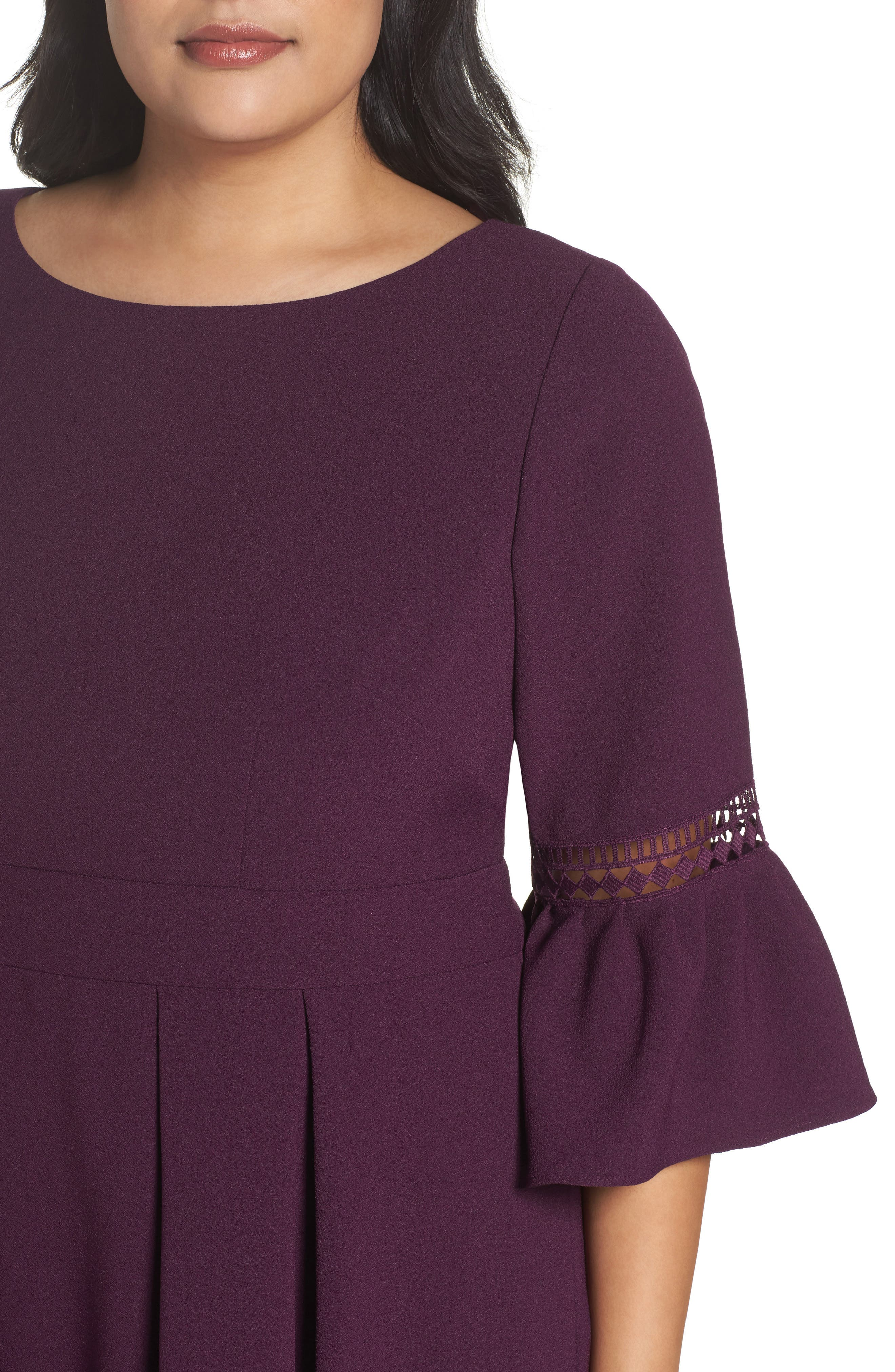 Bell Sleeve Fit & Flare Dress,                             Alternate thumbnail 4, color,                             PURPLE