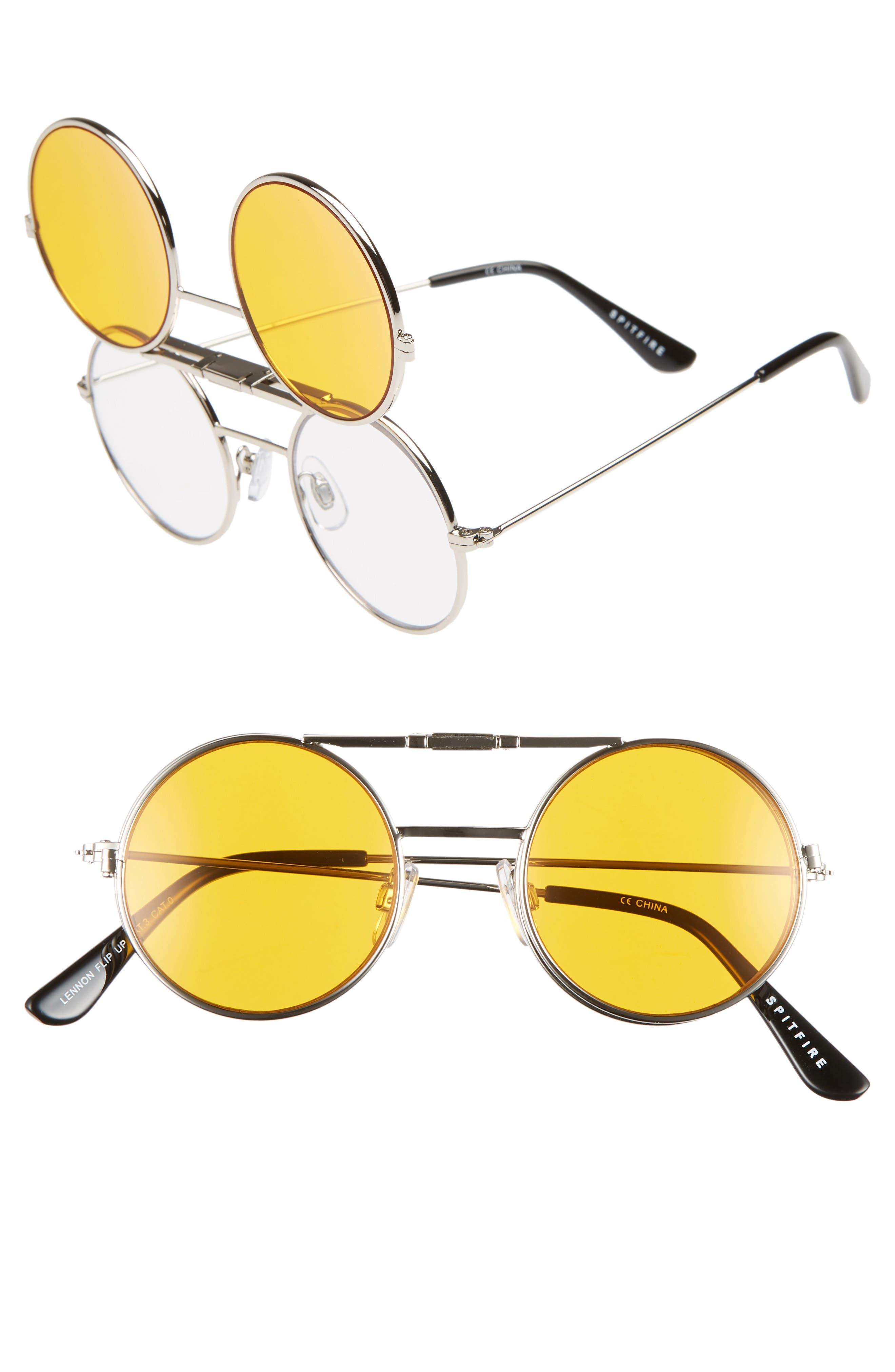 SPITFIRE Lennon Flip 45Mm Round Sunglasses - Silver/ Orange