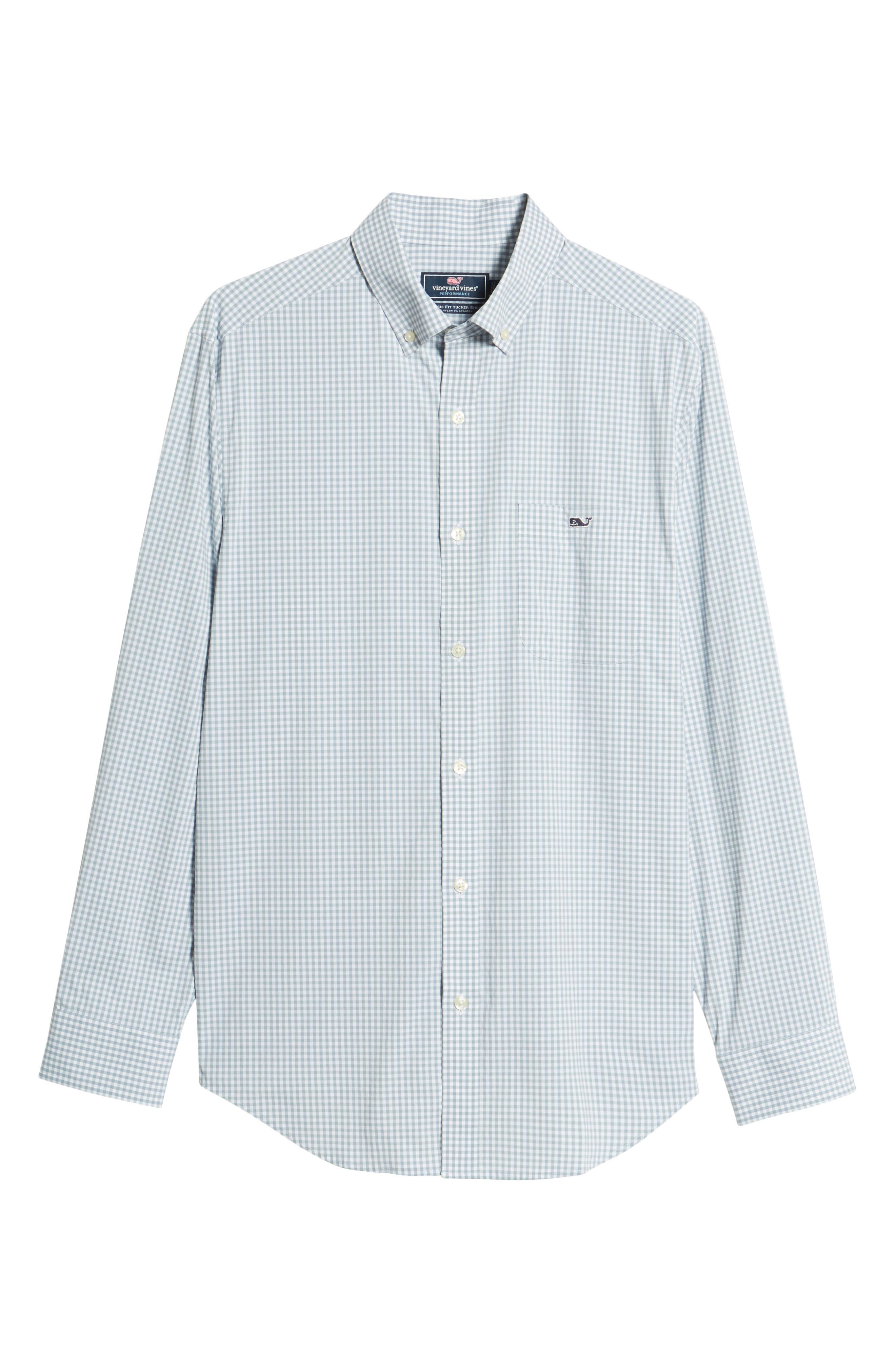 VINEYARD VINES,                             Grand Cay Tucker Regular Fit Gingham Performance Sport Shirt,                             Alternate thumbnail 6, color,                             023