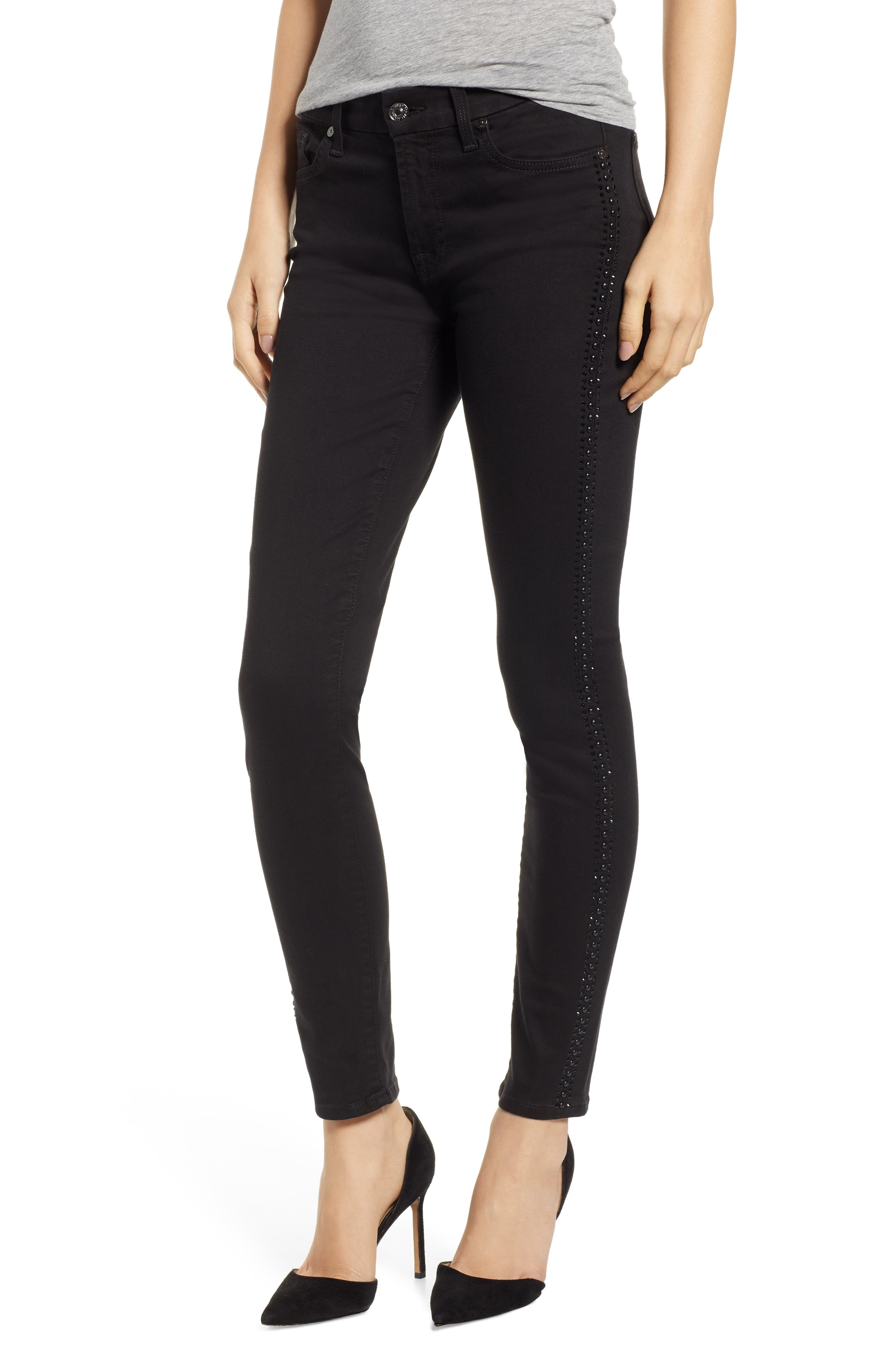 b(air) Coated Ankle Skinny Jeans,                             Main thumbnail 1, color,                             BLACK W/ CRYSTALS
