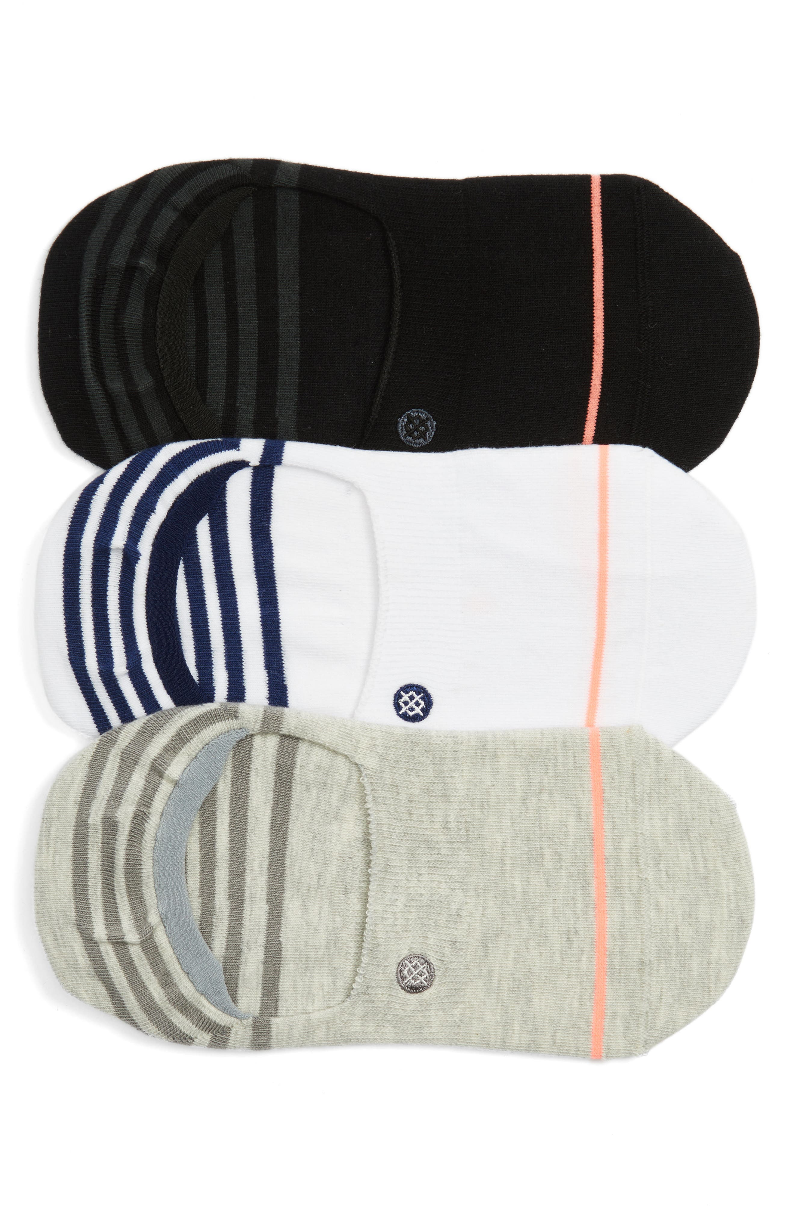 Super Invisible 3-Pack No-Show Socks,                             Main thumbnail 1, color,