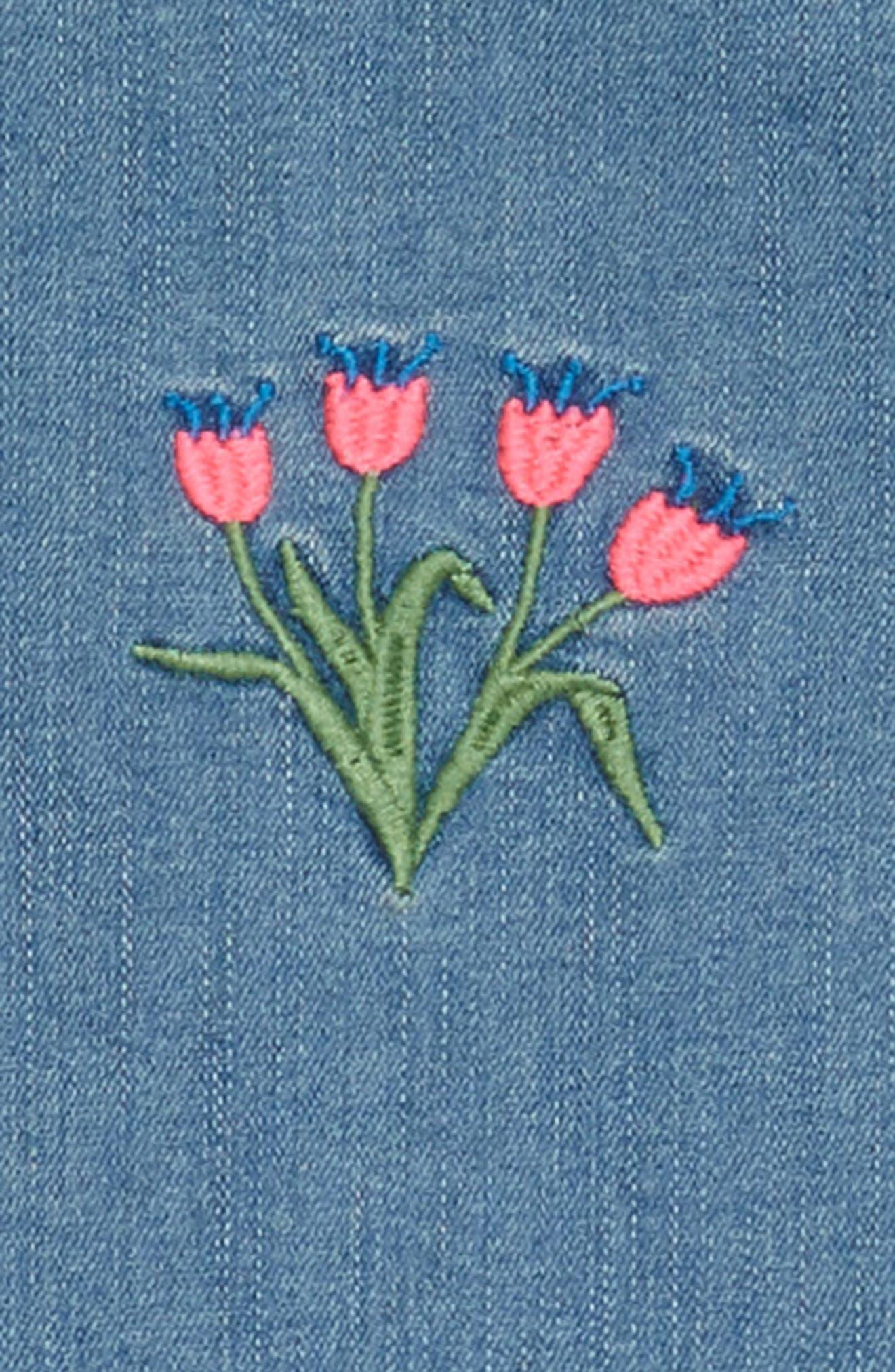Embroidered Denim Shift Dress,                             Alternate thumbnail 3, color,                             420