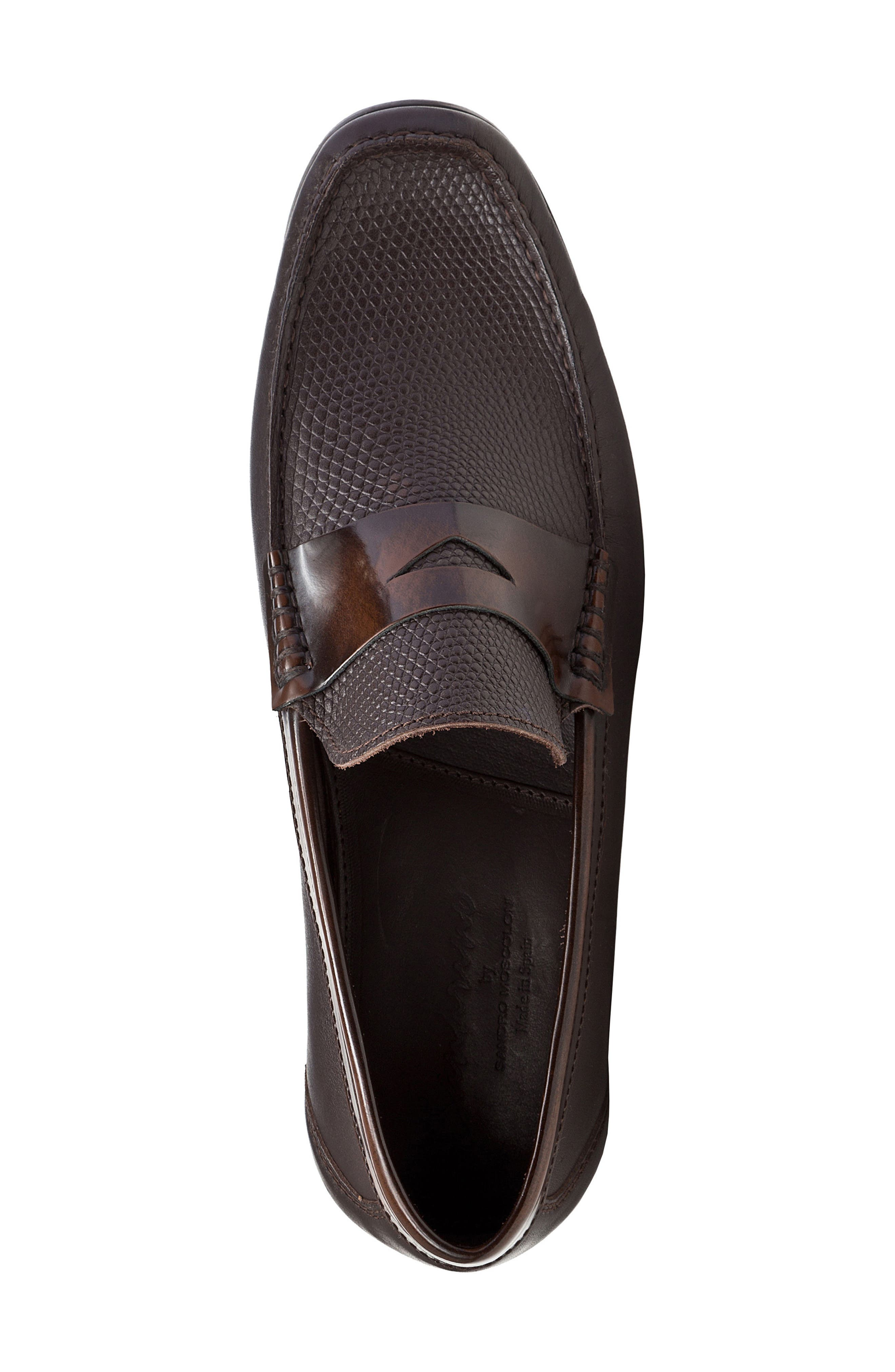 Bilbao Pebble Embossed Penny Loafer,                             Alternate thumbnail 5, color,                             BROWN