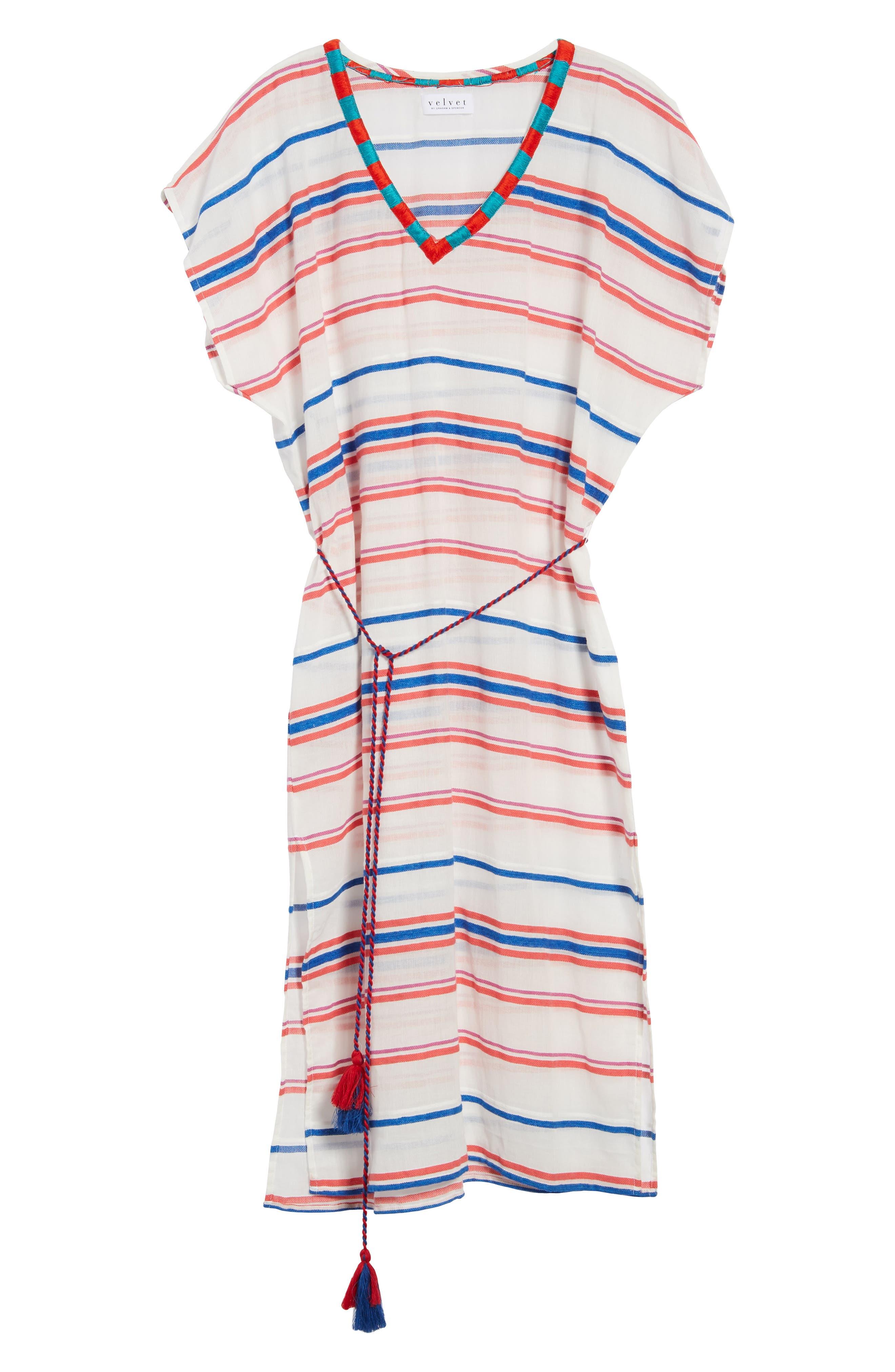Stripe Caftan Dress,                             Alternate thumbnail 7, color,                             196