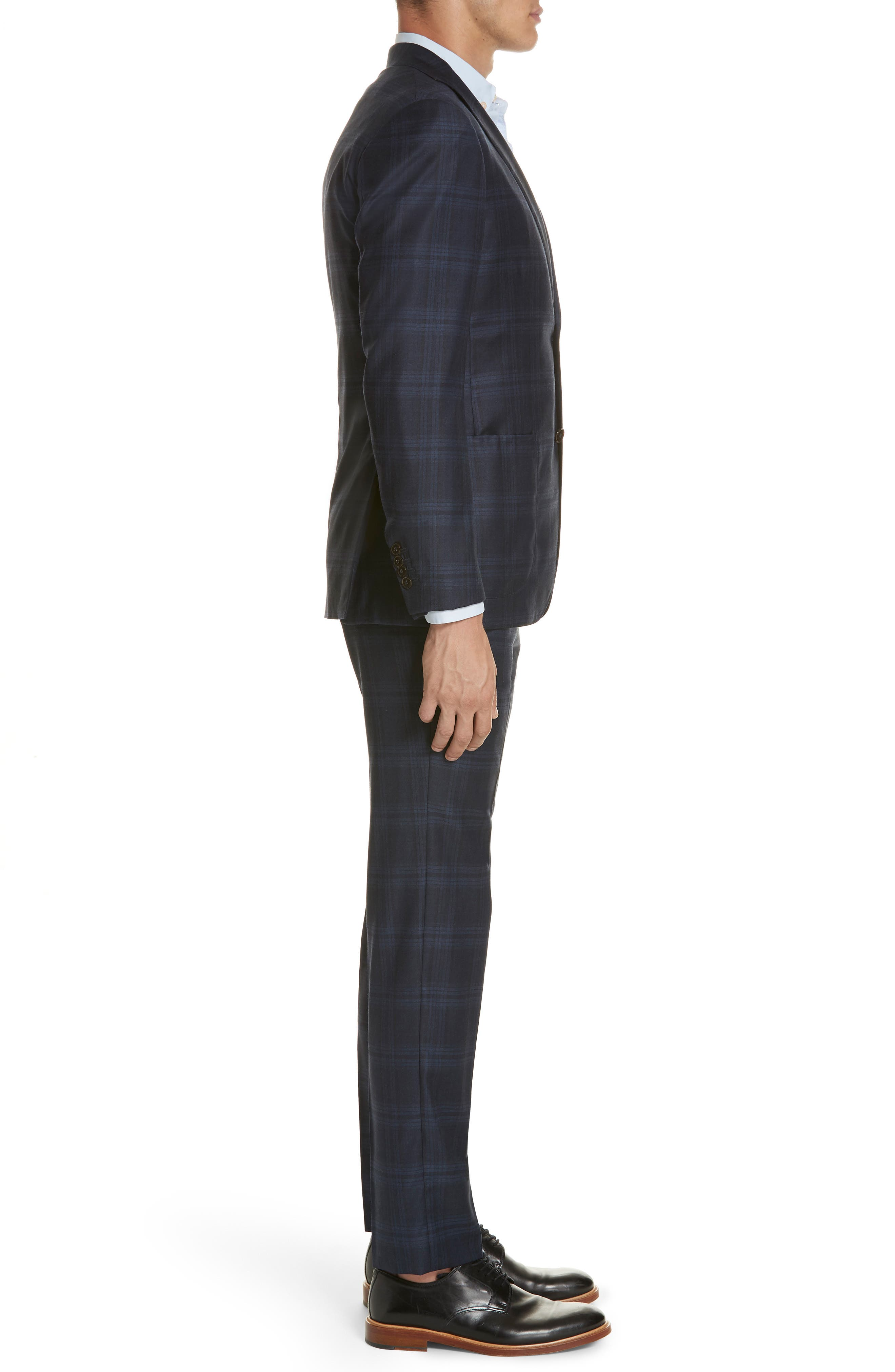 Trim Fit Plaid Wool & Cashmere Suit,                             Alternate thumbnail 3, color,                             CHARCOAL/ BLUE