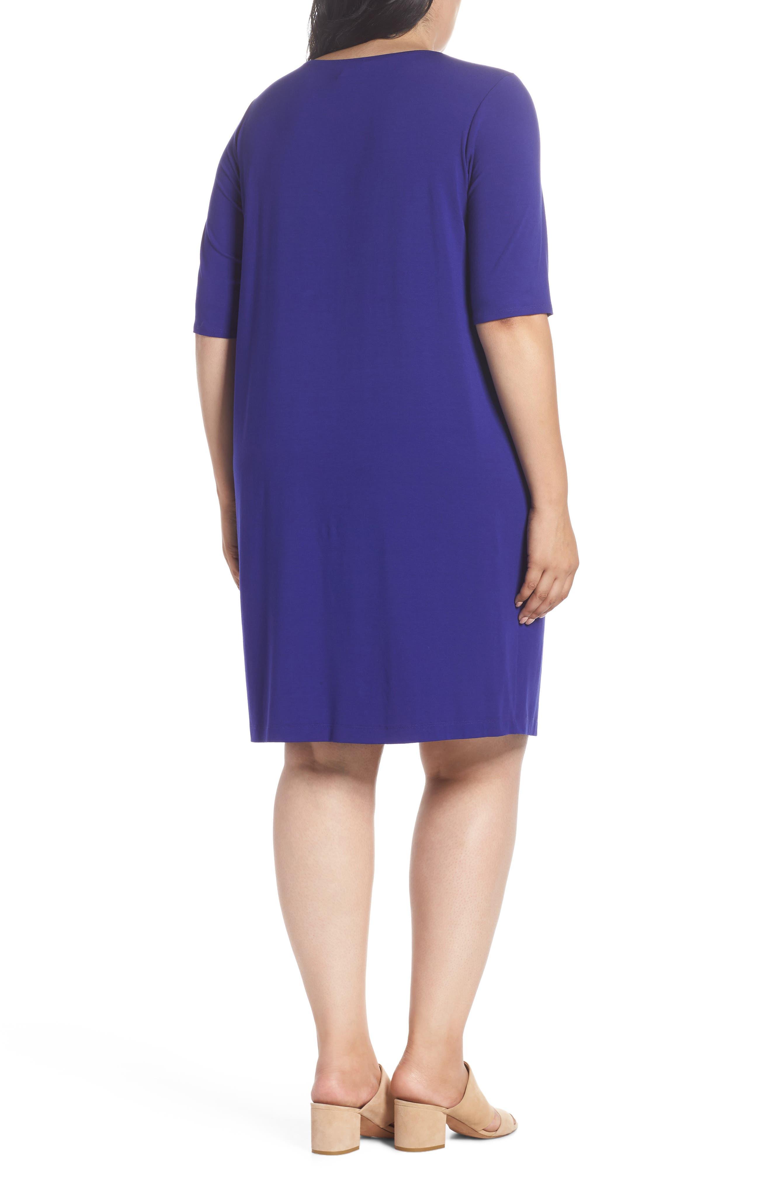 V-Neck Stretch Jersey Shift Dress,                             Alternate thumbnail 9, color,