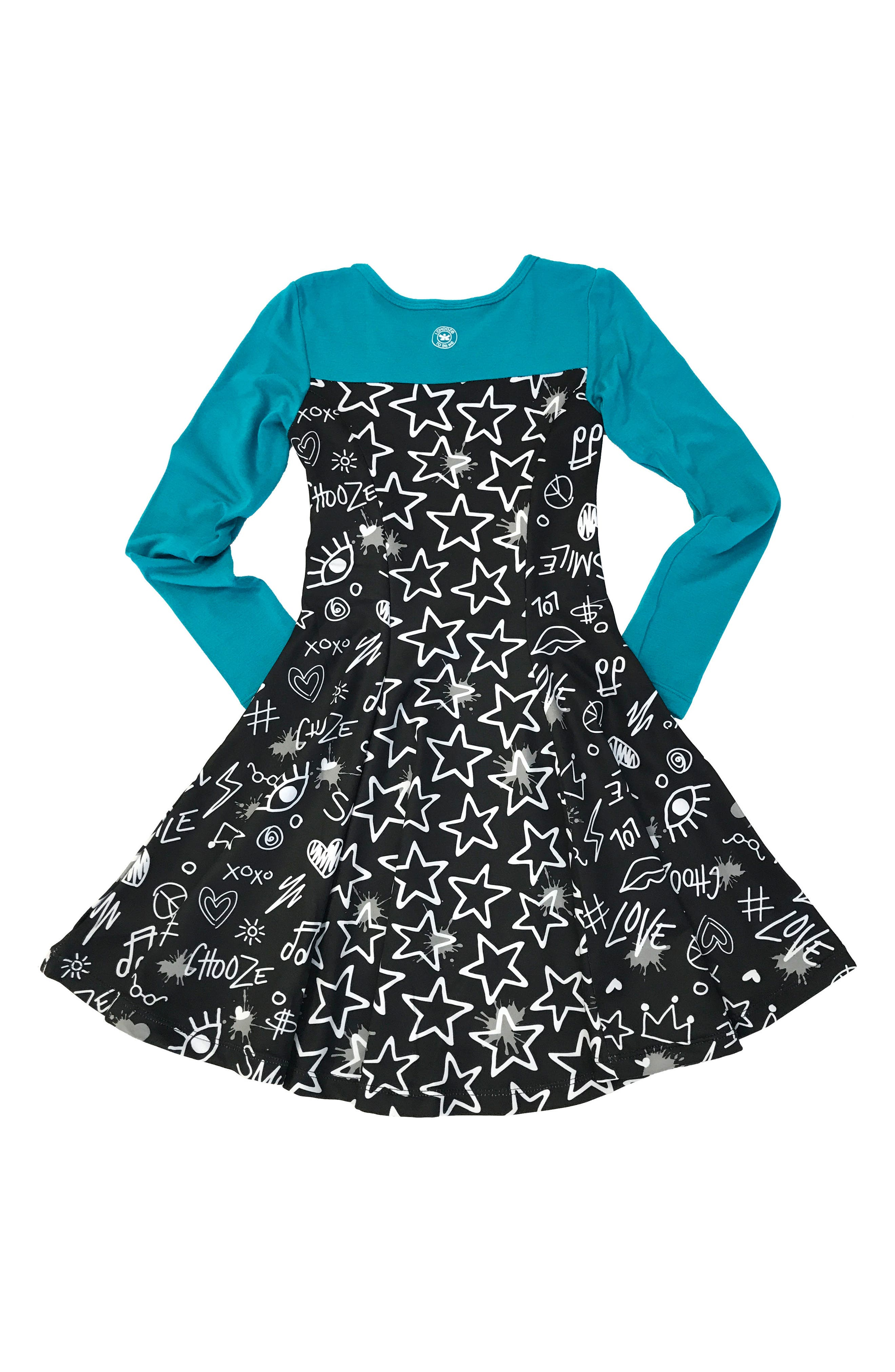 Lead Mixed Print Skater Dress,                             Main thumbnail 1, color,                             007