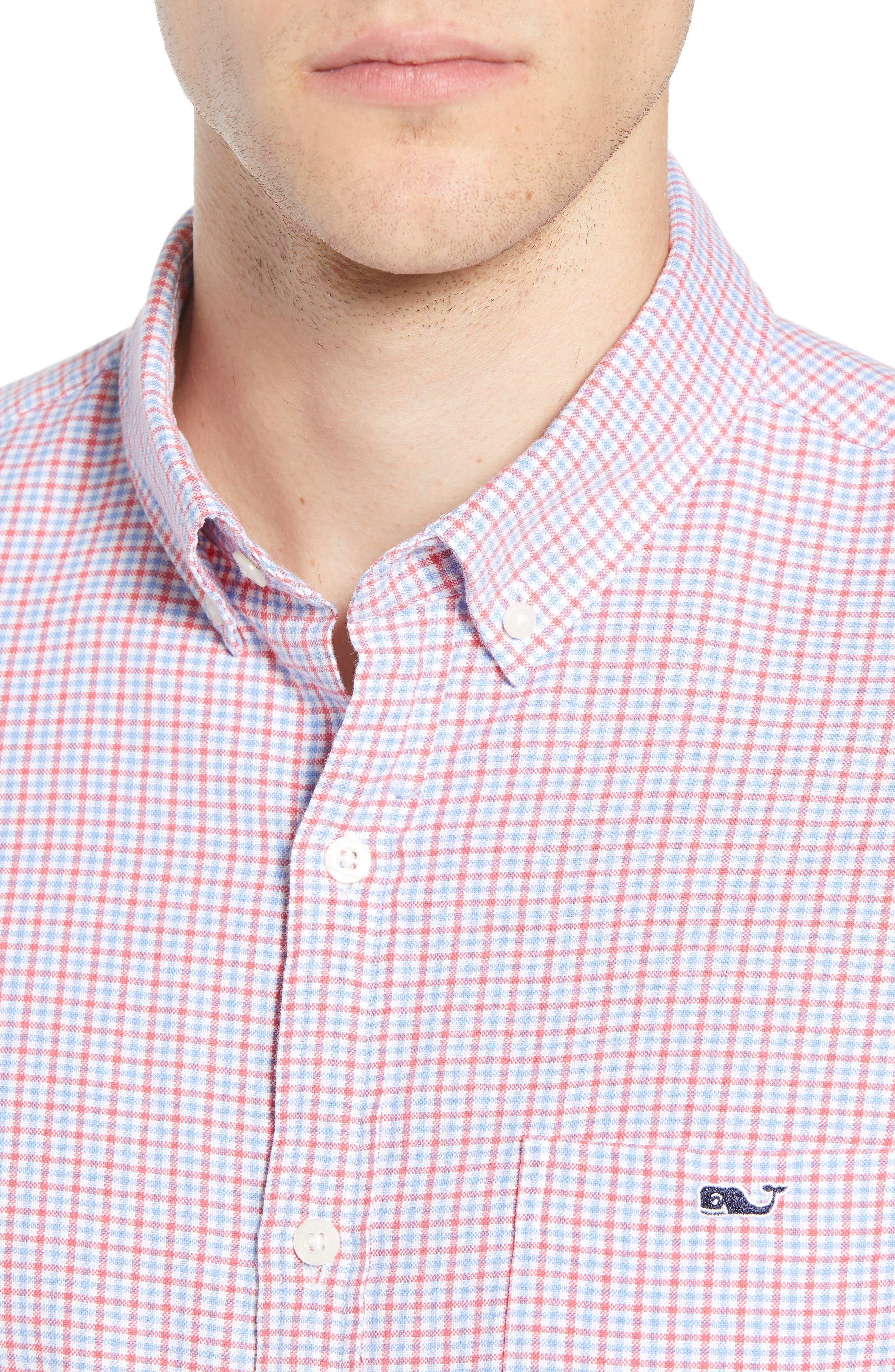 Slim Tucker 2 Check Sport Shirt,                             Alternate thumbnail 2, color,                             SAILORS RED