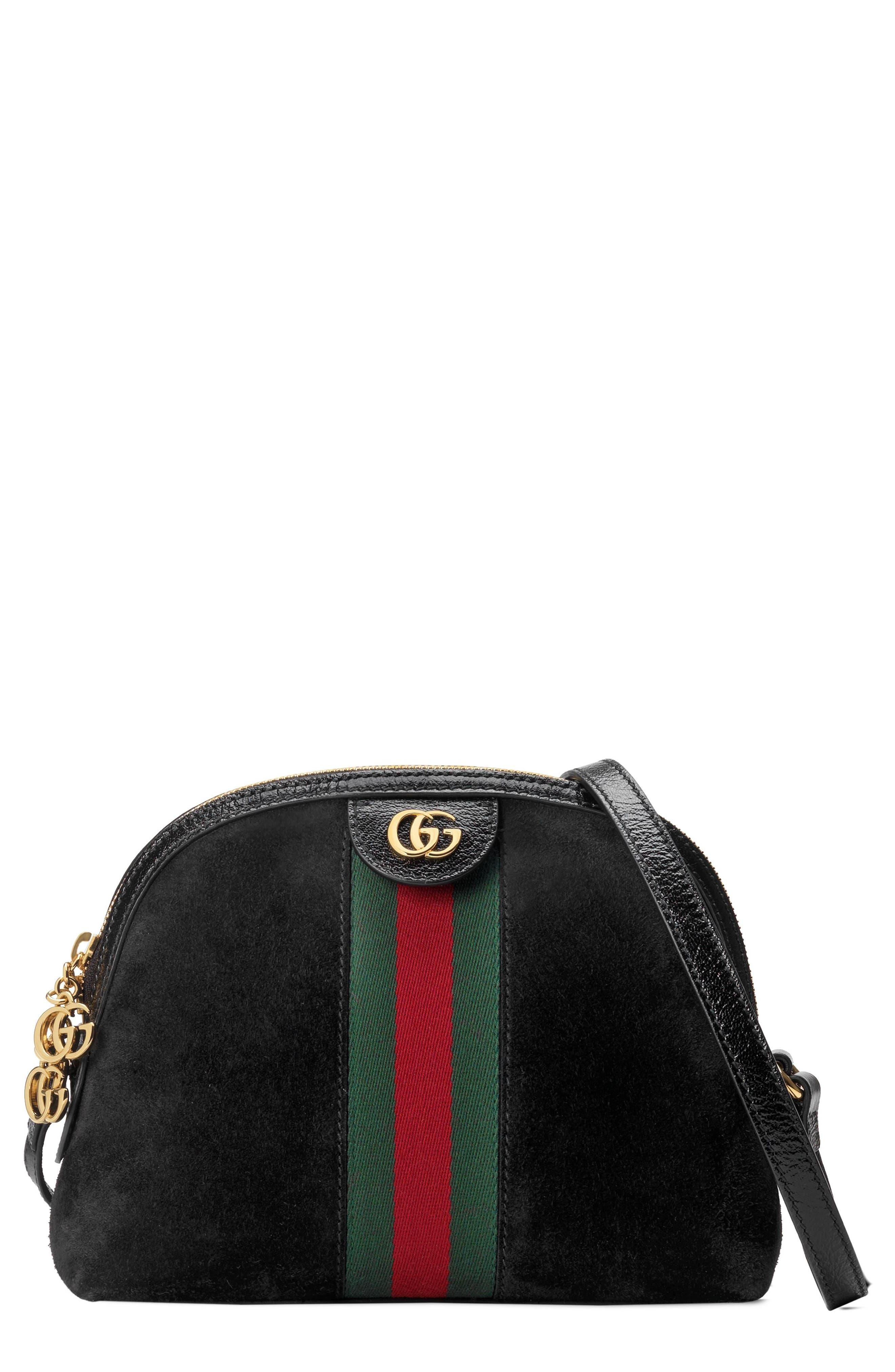 Small Suede Shoulder Bag,                         Main,                         color, NERO/ NERO/ VERT RED VERT