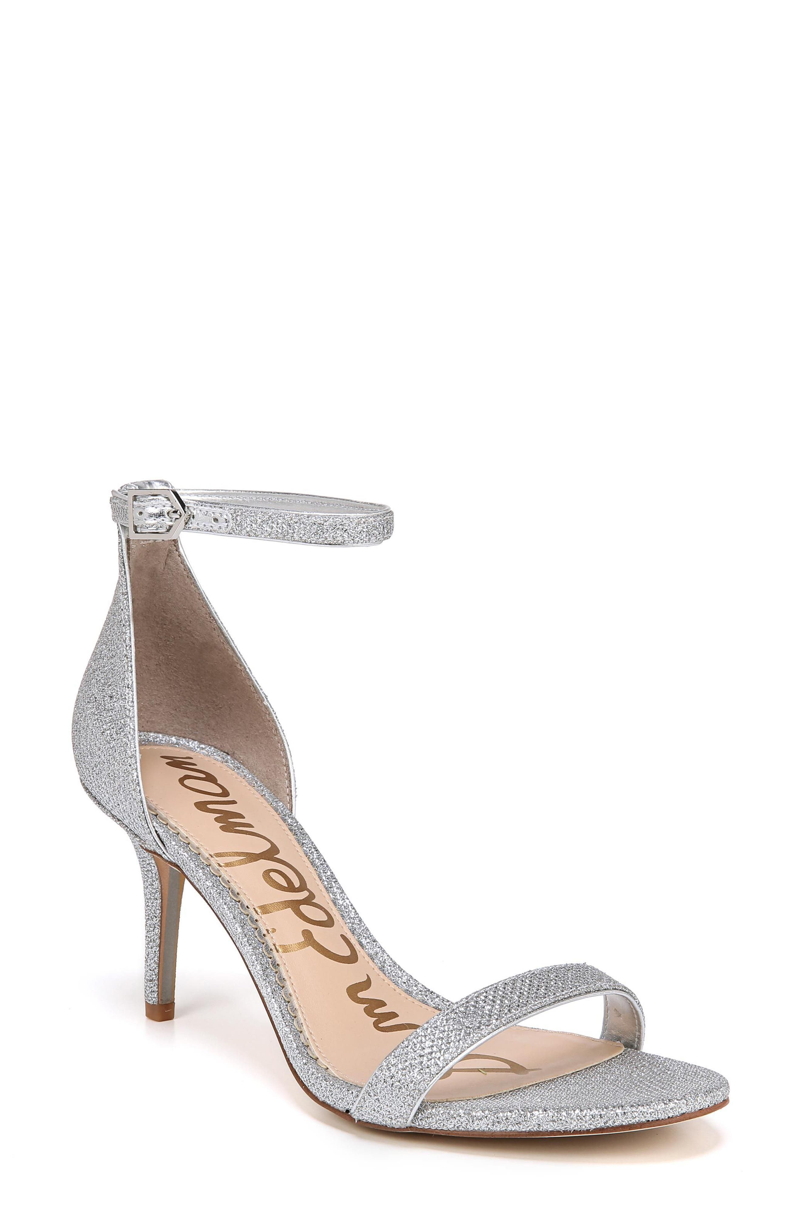 'Patti' Ankle Strap Sandal,                             Main thumbnail 1, color,                             SOFT SILVER FABRIC