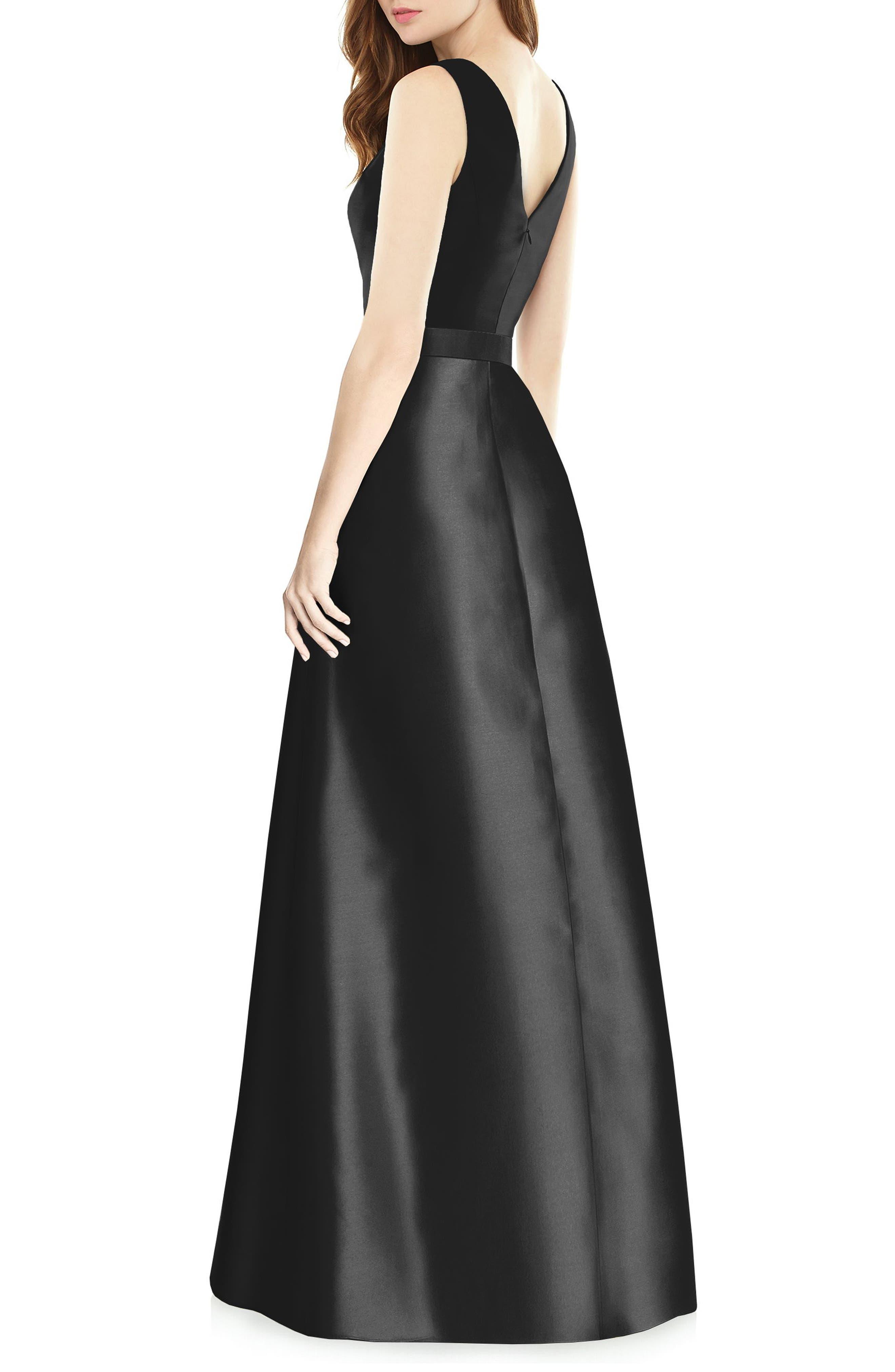 Sleeveless Sateen Gown,                             Alternate thumbnail 2, color,                             BLACK