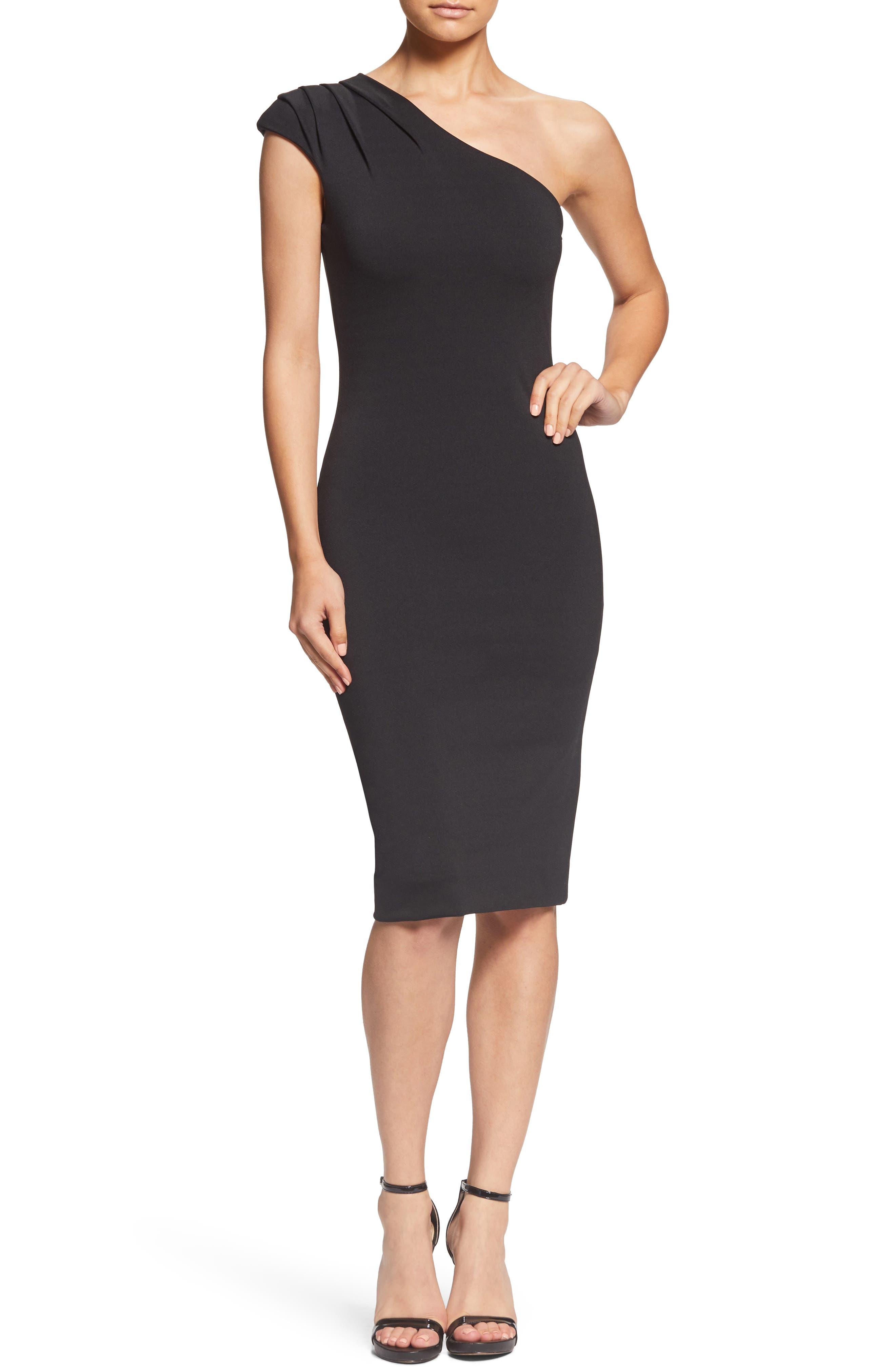 Dress The Population Quinn One-Shoulder Body-Con Dress, Black