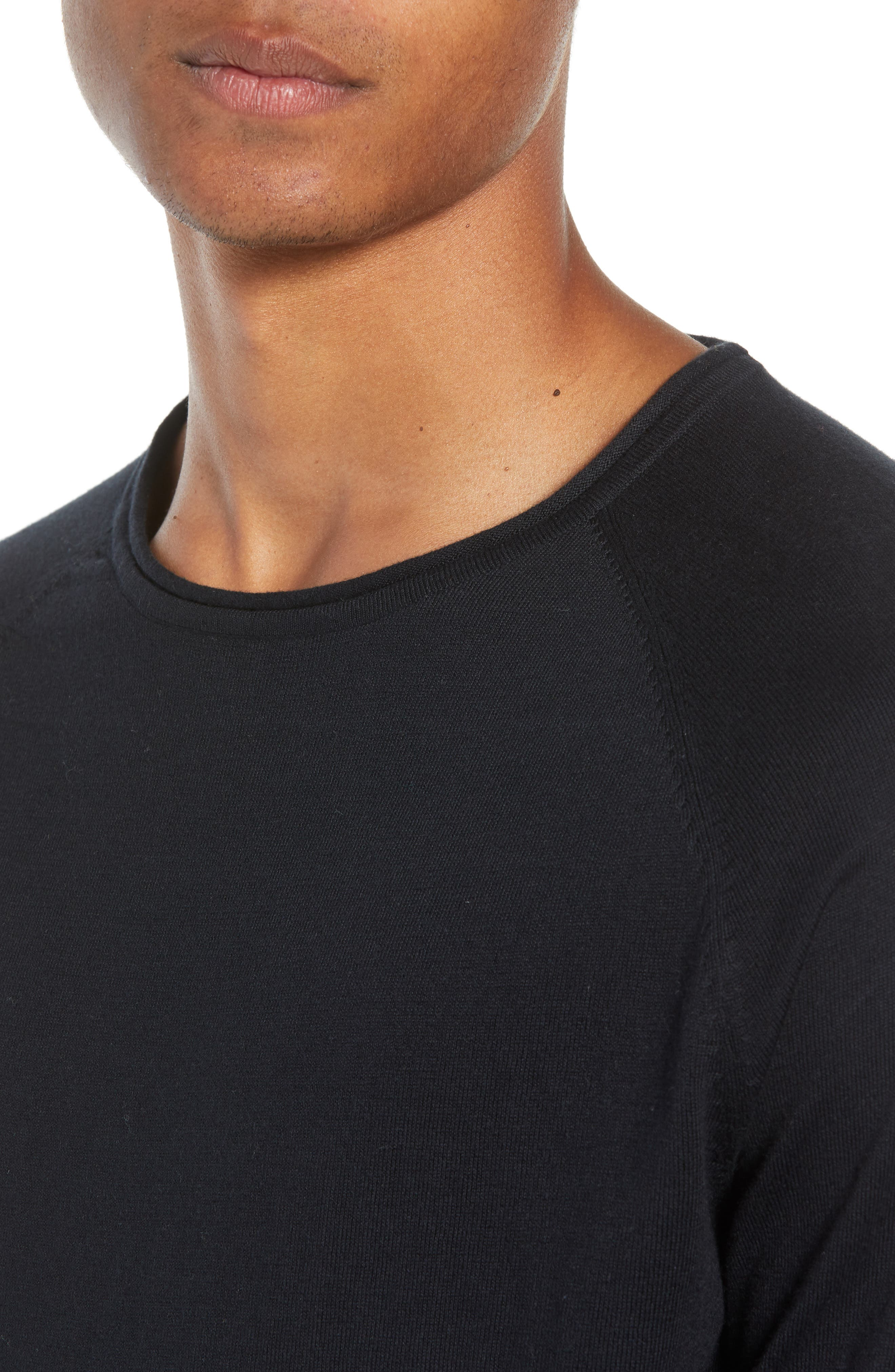 Crewneck Sweatshirt,                             Alternate thumbnail 4, color,                             BLACK