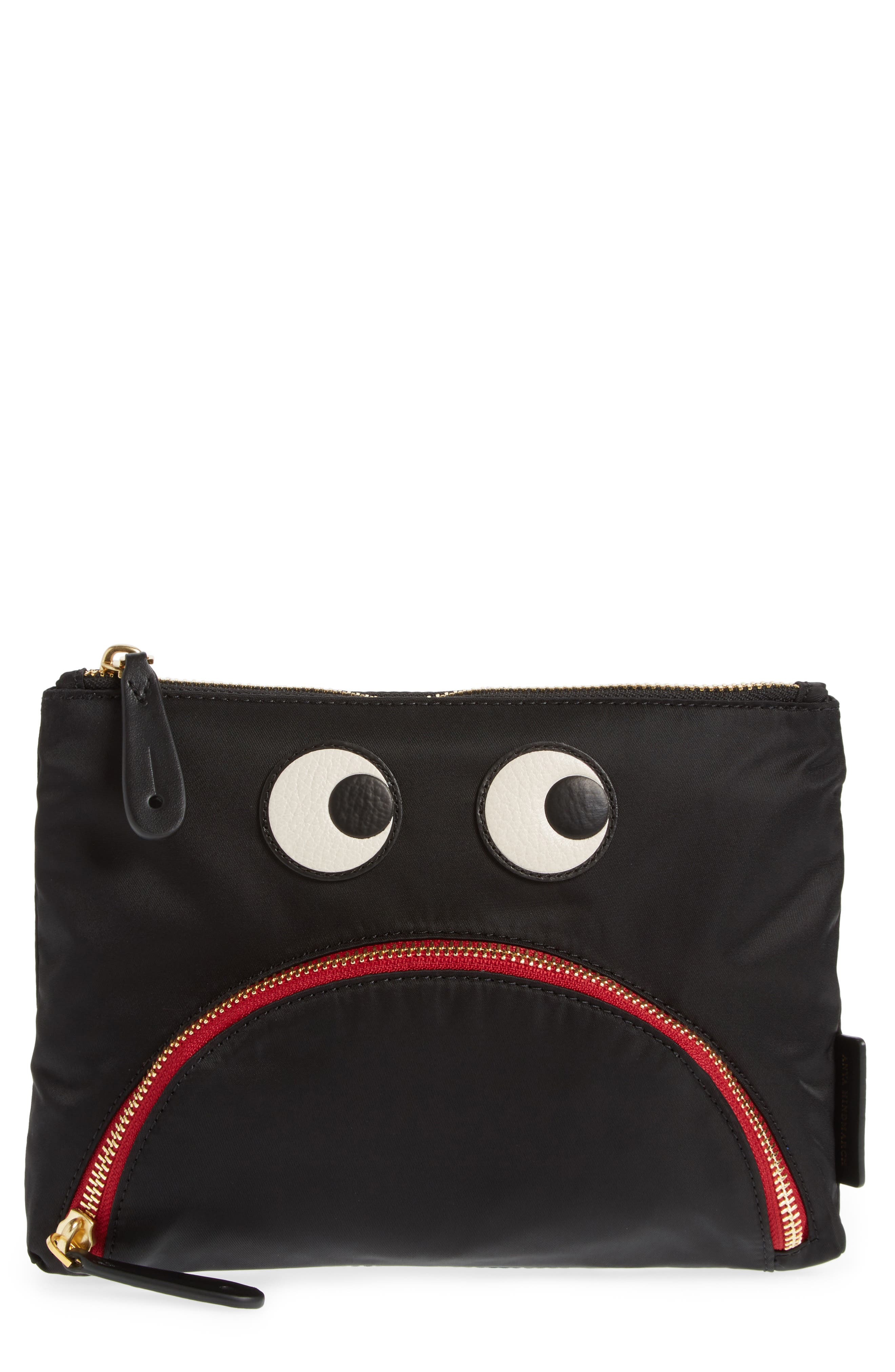 Happy Eyes Nylon Pouch,                         Main,                         color,