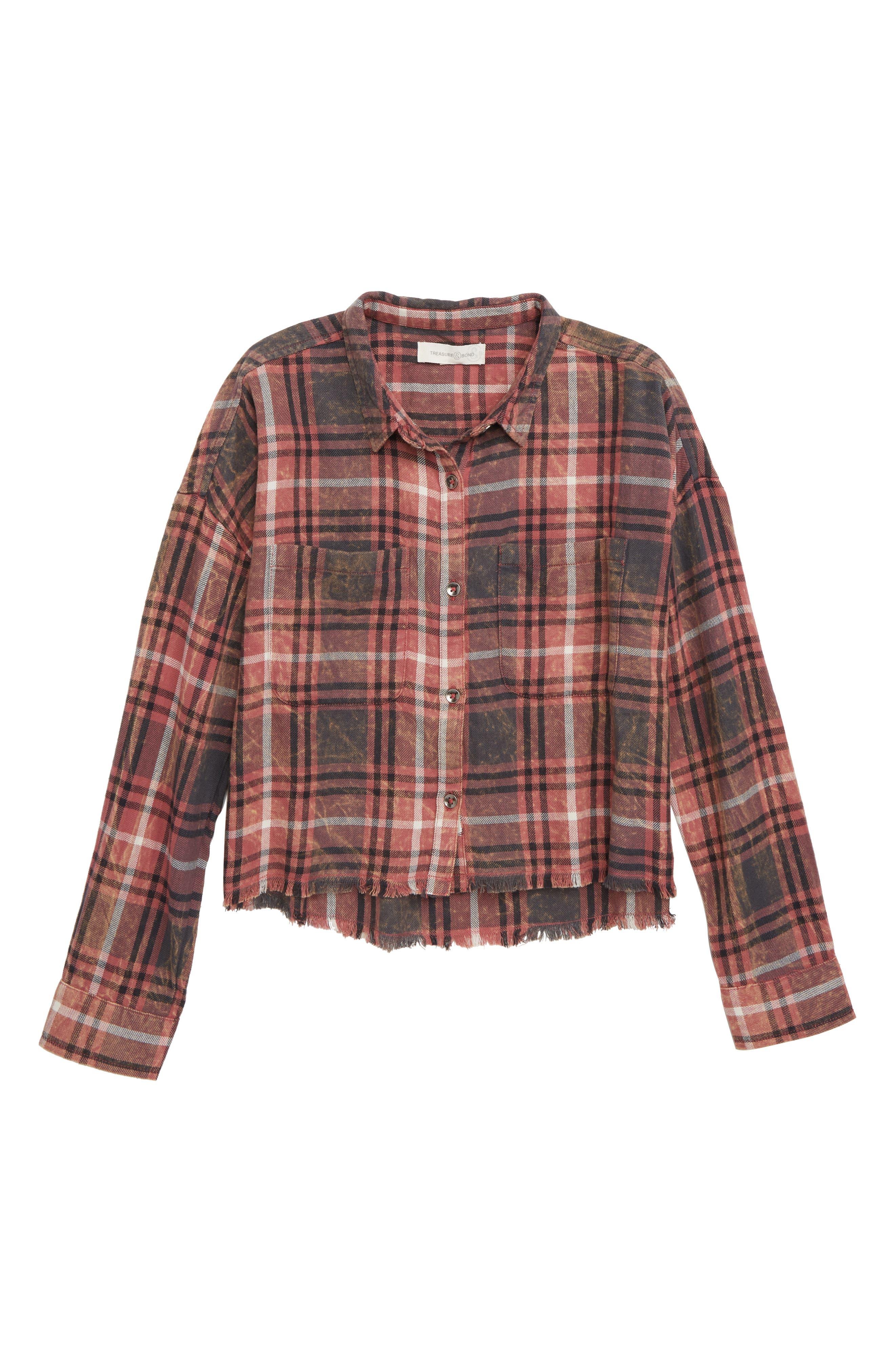 Cutoff Plaid Shirt,                         Main,                         color, PINK DECO VINTAGE PLAID
