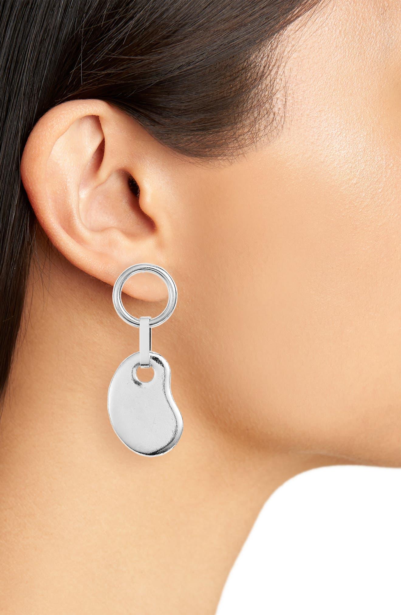 Amoeba Ring Drop Earrings,                             Alternate thumbnail 2, color,                             SILVER