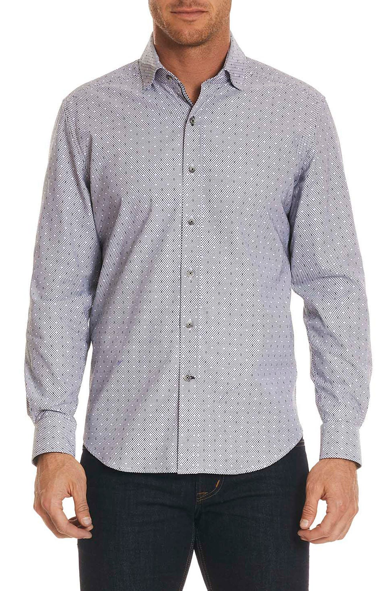 Miles Regular Fit Dot Sport Shirt,                         Main,                         color, 001