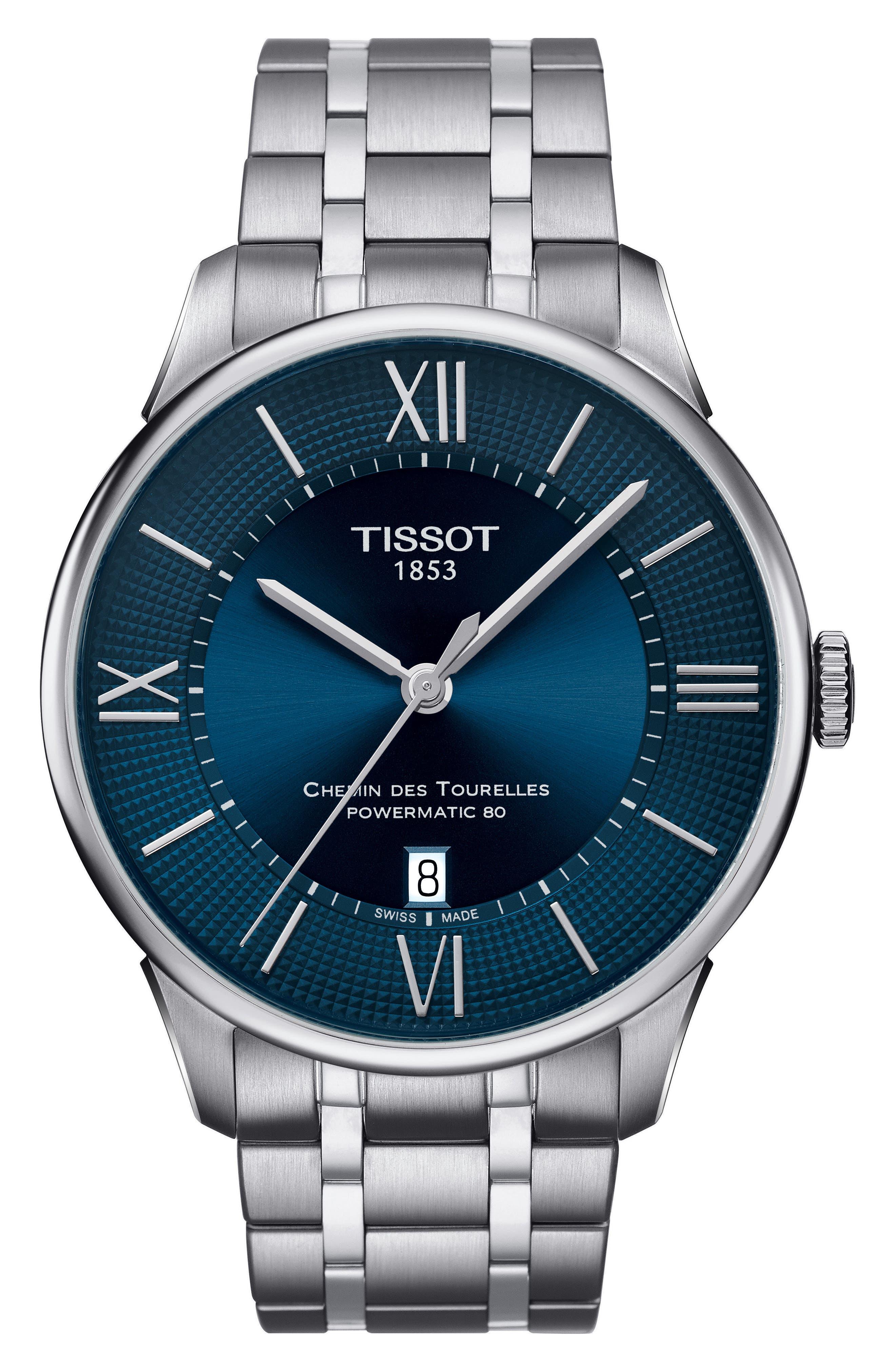 TISSOT,                             T-Classic Chemin Des Tourelles Powermatic 80 Automatic Bracelet Watch, 42mm,                             Main thumbnail 1, color,                             SILVER/ BLUE/ SILVER