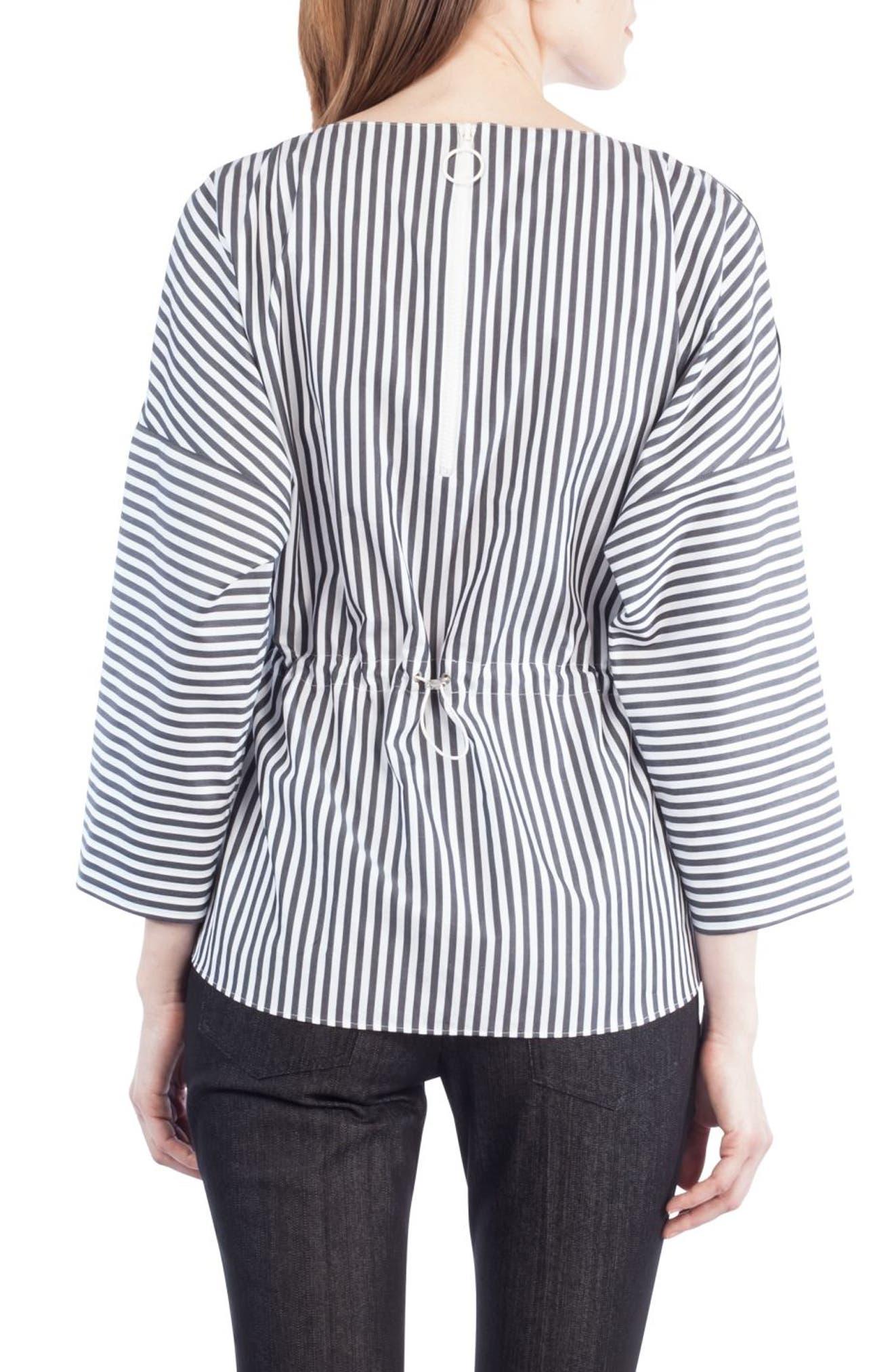 Stripe Cotton Drawstring Blouse,                             Alternate thumbnail 3, color,                             960