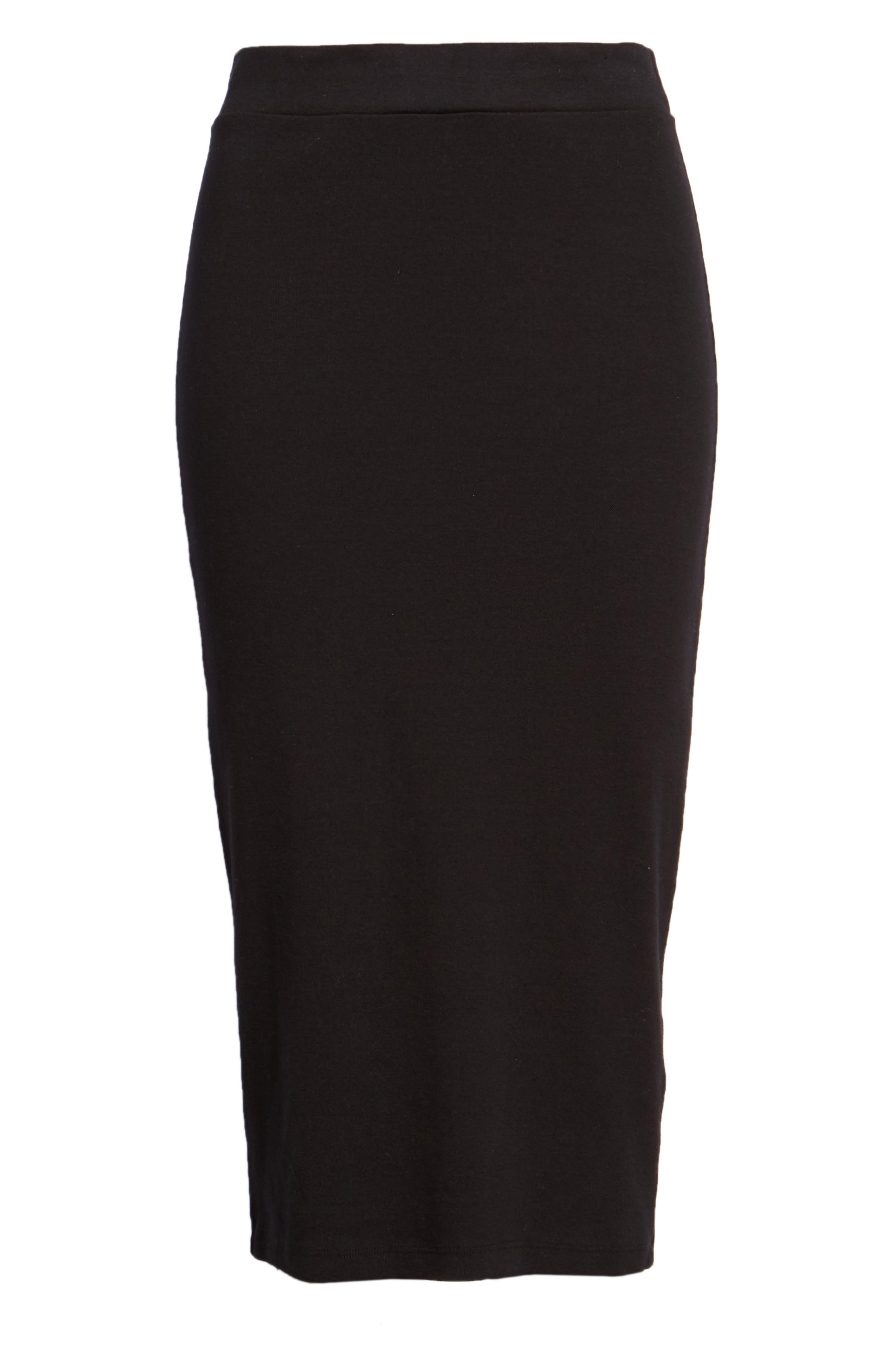 Stretch Cotton Midi Skirt,                             Alternate thumbnail 6, color,                             001