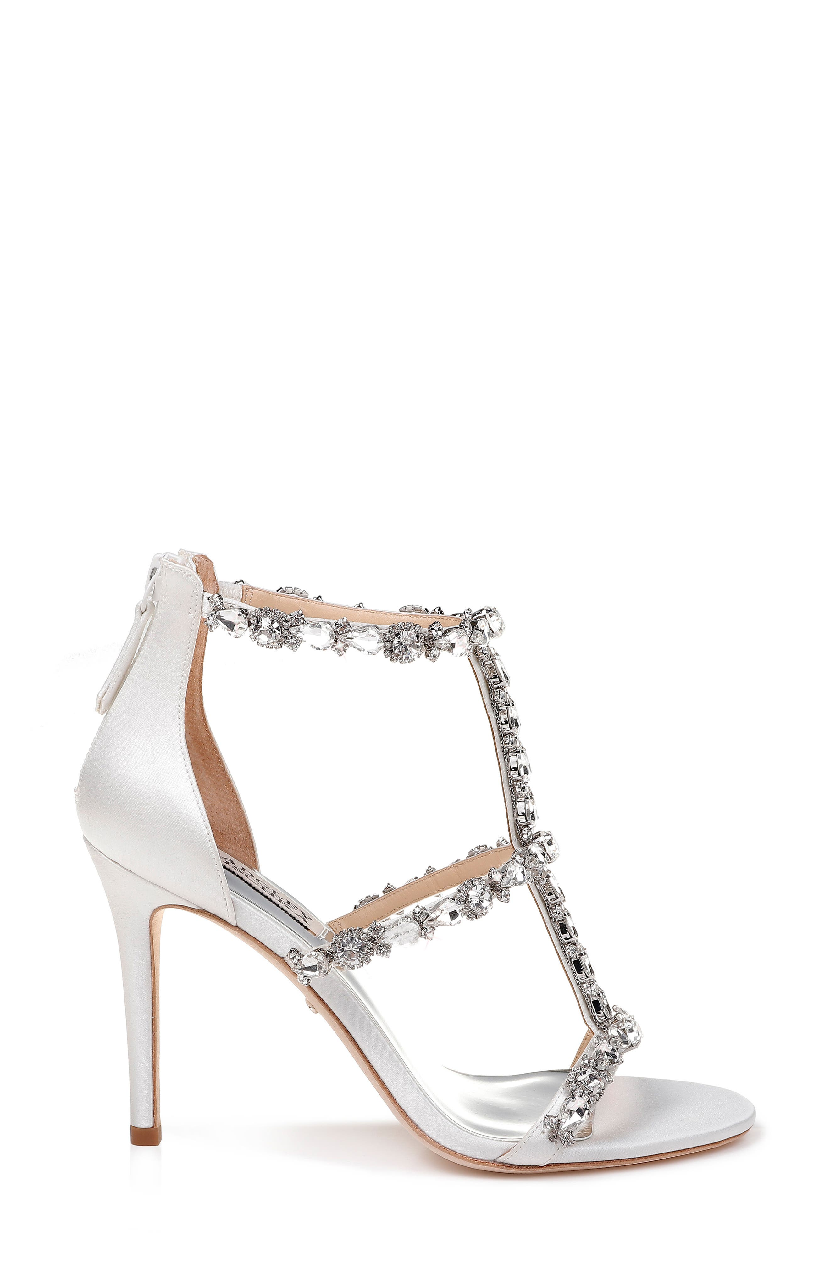 Querida Embellished Sandal,                             Alternate thumbnail 3, color,                             SOFT WHITE SATIN