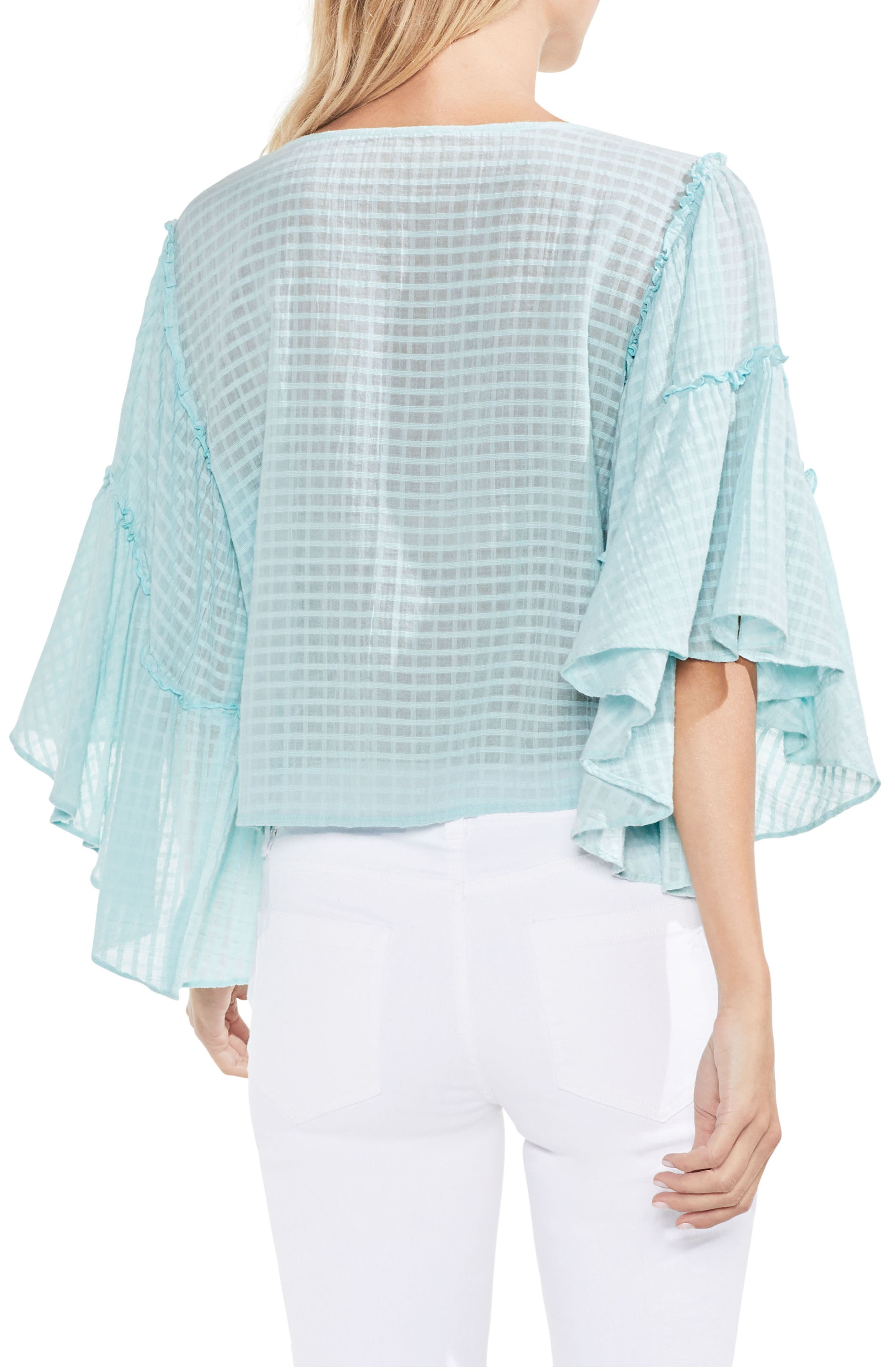 Grid Drop Shoulder Ruffle Sleeve Blouse,                             Alternate thumbnail 5, color,