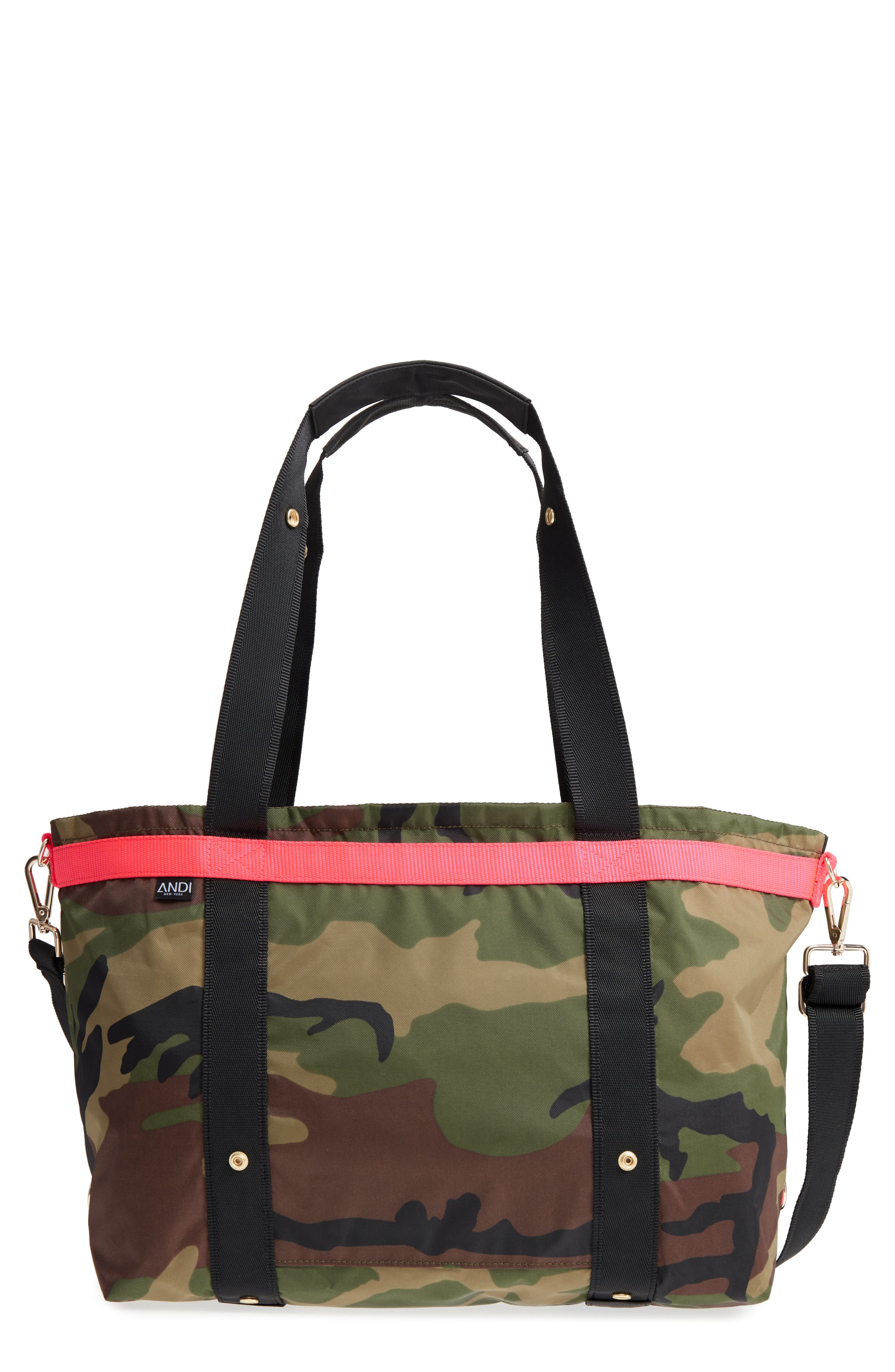 ANDI Camo Convertible Tote - Green in Woodland Camouflage/ Hot Pink