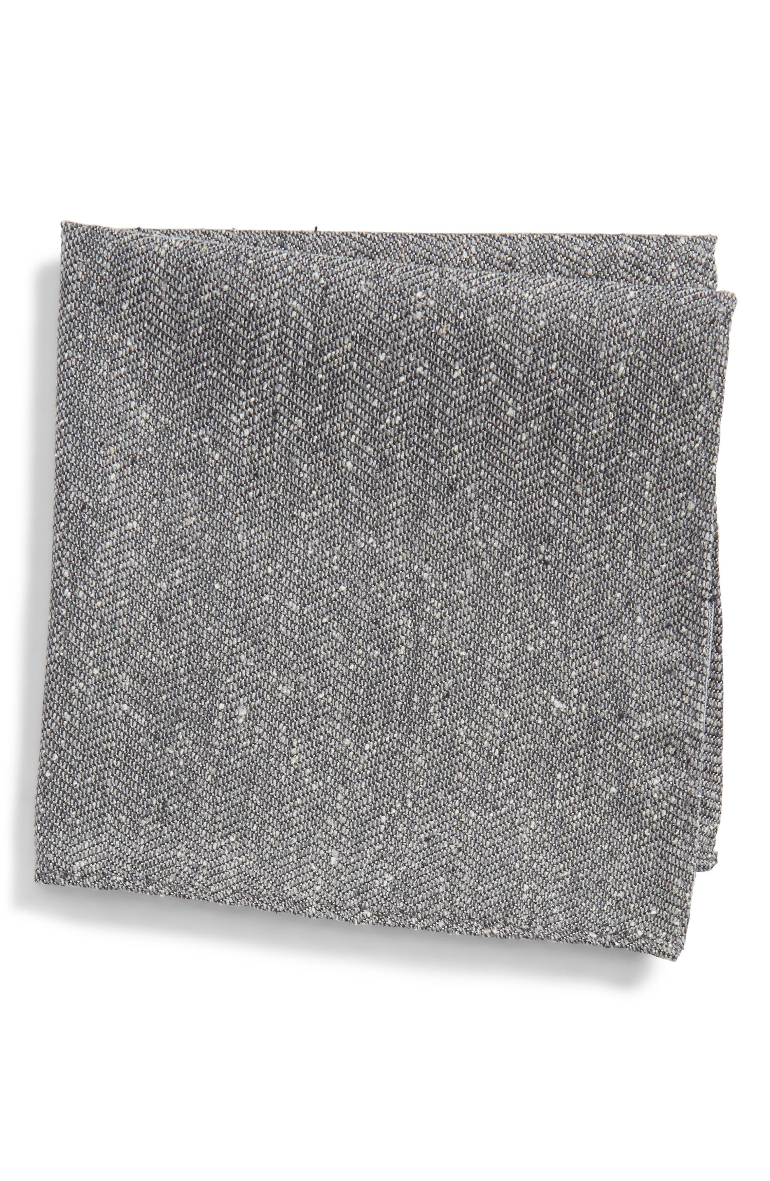 Threaded Zigzag Silk Pocket Square,                             Main thumbnail 1, color,